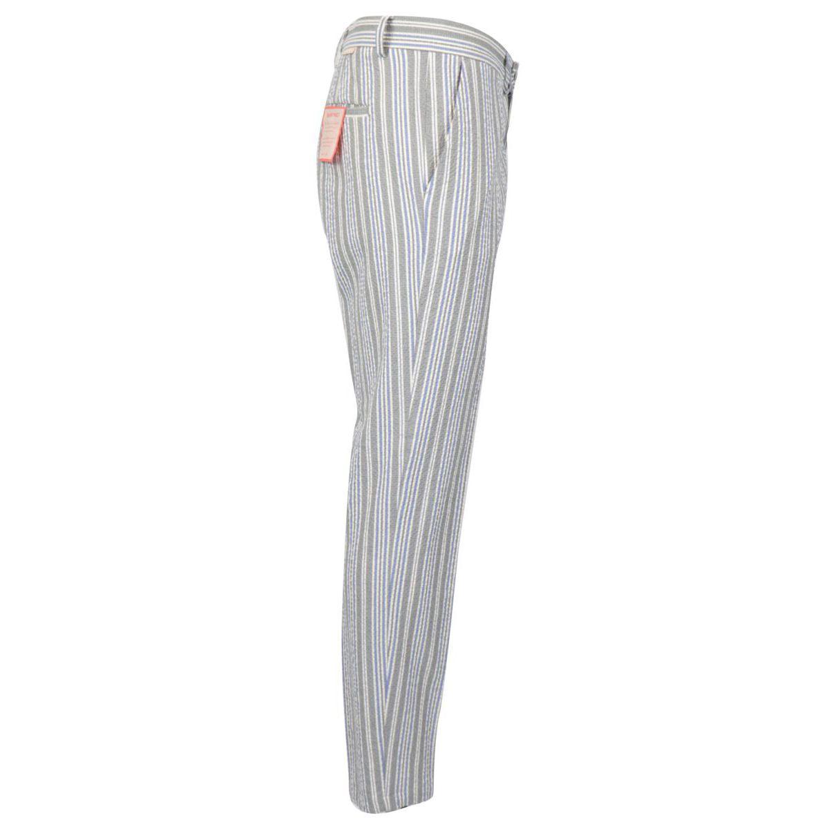 Striped seersucker trousers Grey Baronio