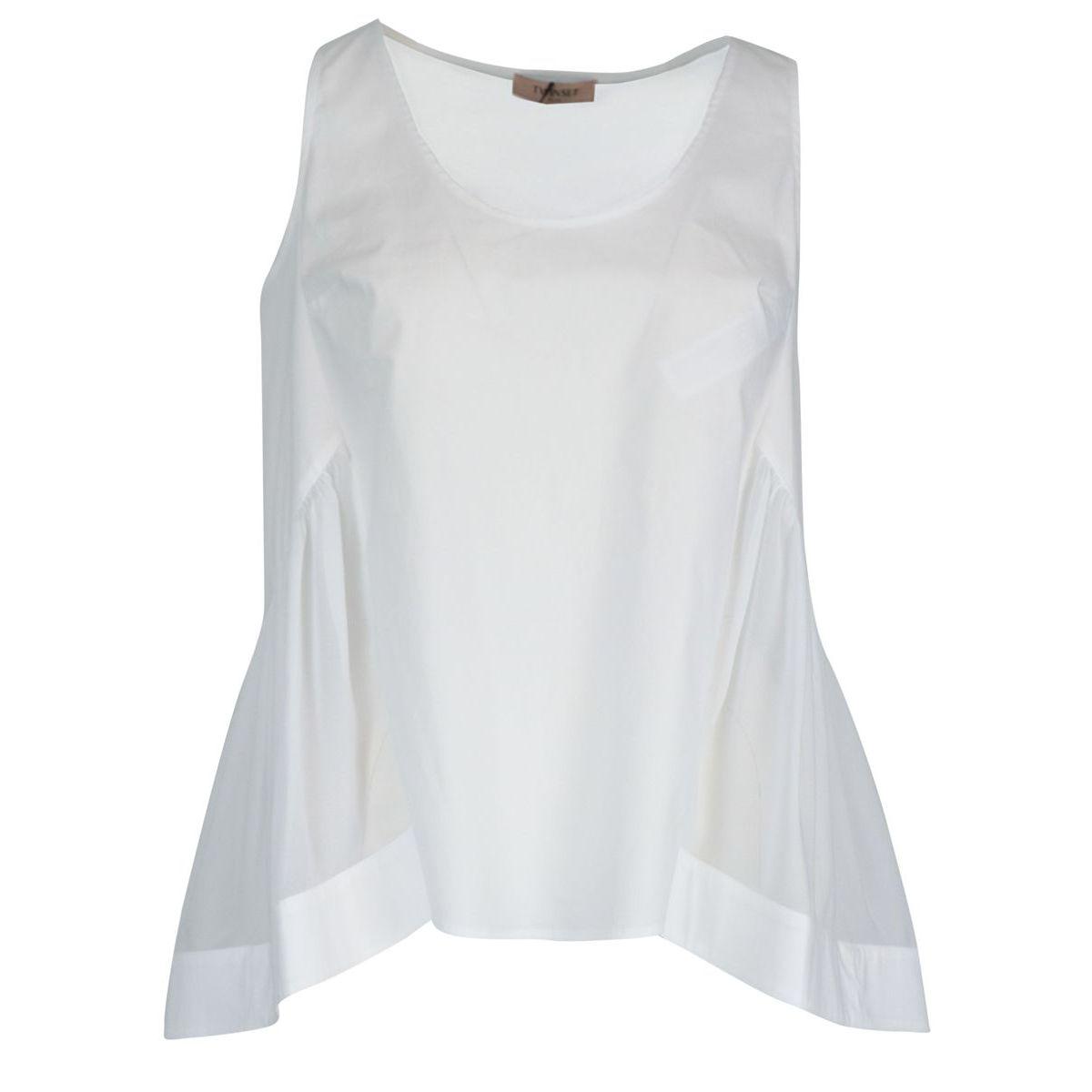 Top smanicato in popeline di cotone con fondo ampio Bianco ottico Twin-Set