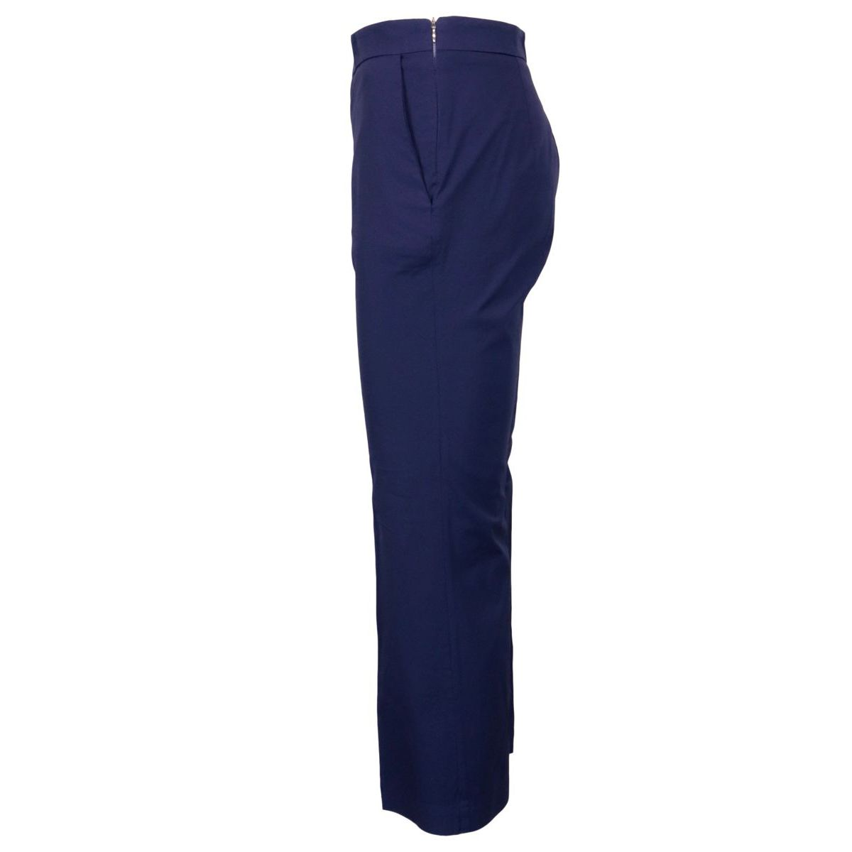 Trumpet stretch cotton poplin trousers Night blue Maliparmi