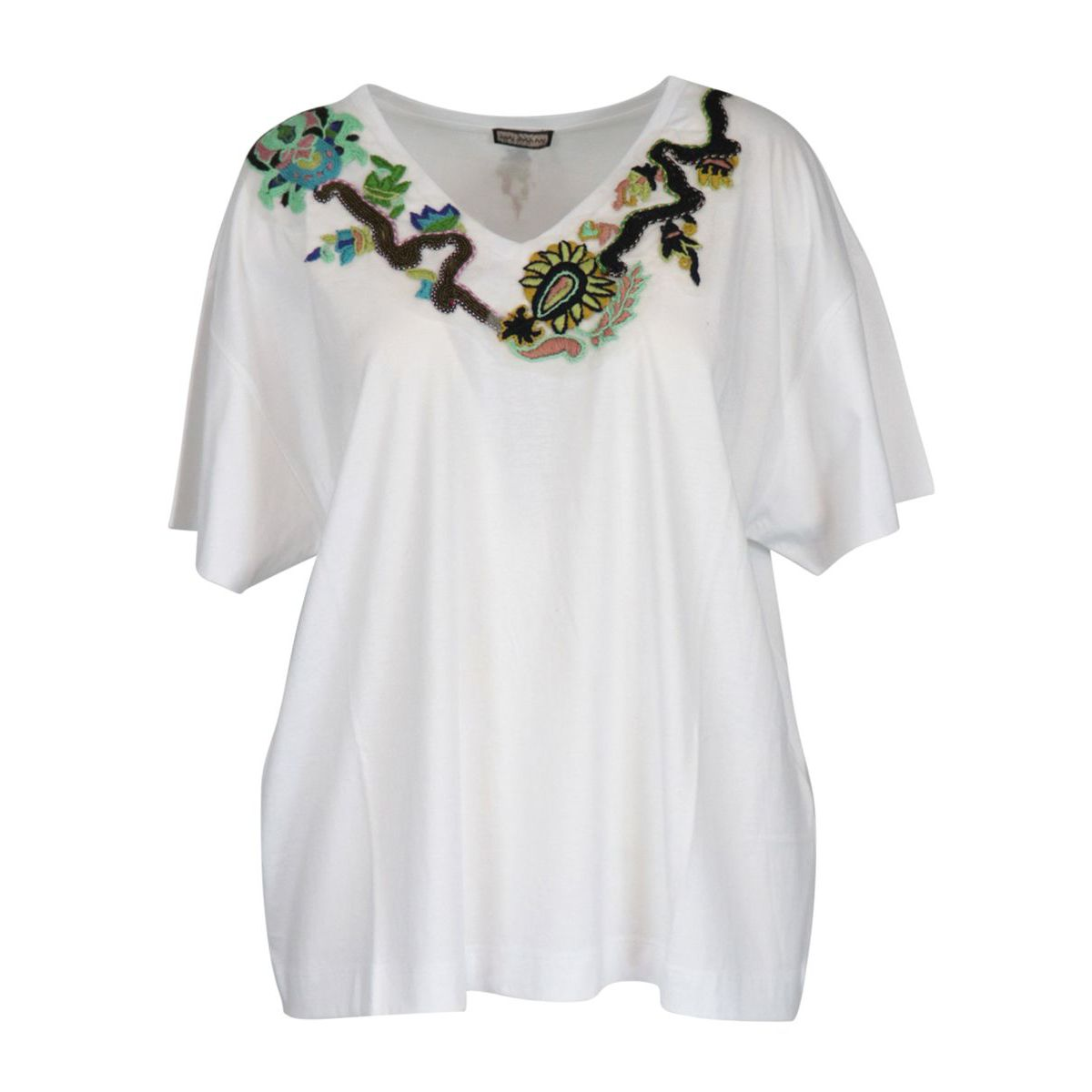 Wide cotton T-shirt with front embroidery White Maliparmi
