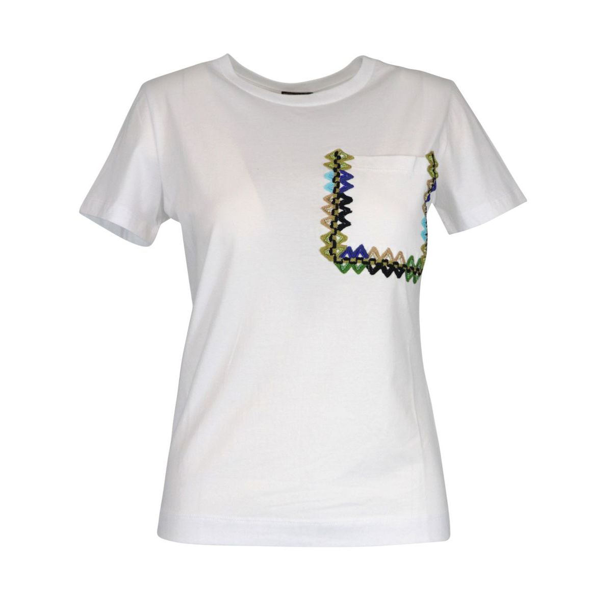 Crew neck cotton T-shirt with embroidery on the pocket White Maliparmi
