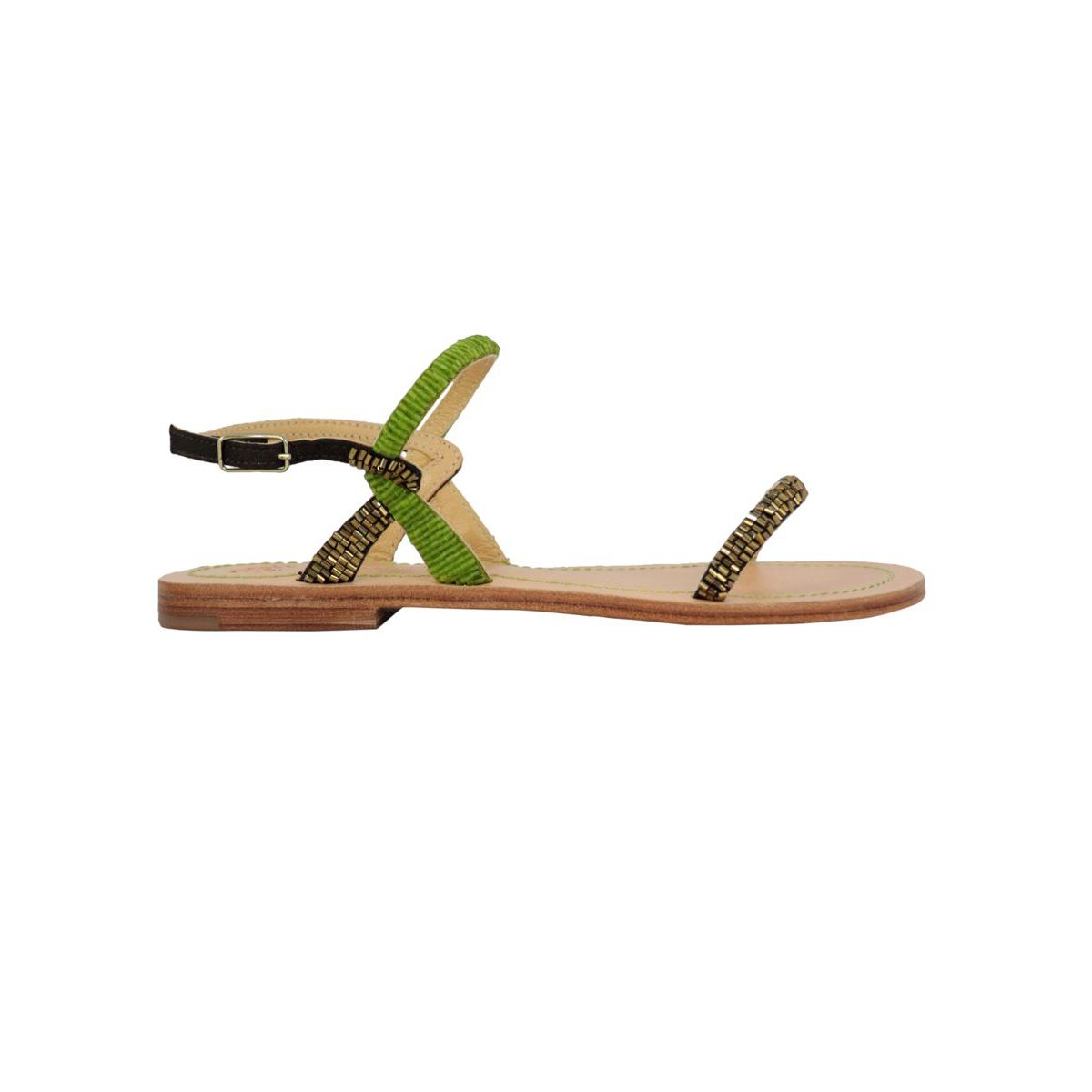 Capri sandal in leather with glass bead applications Green Maliparmi