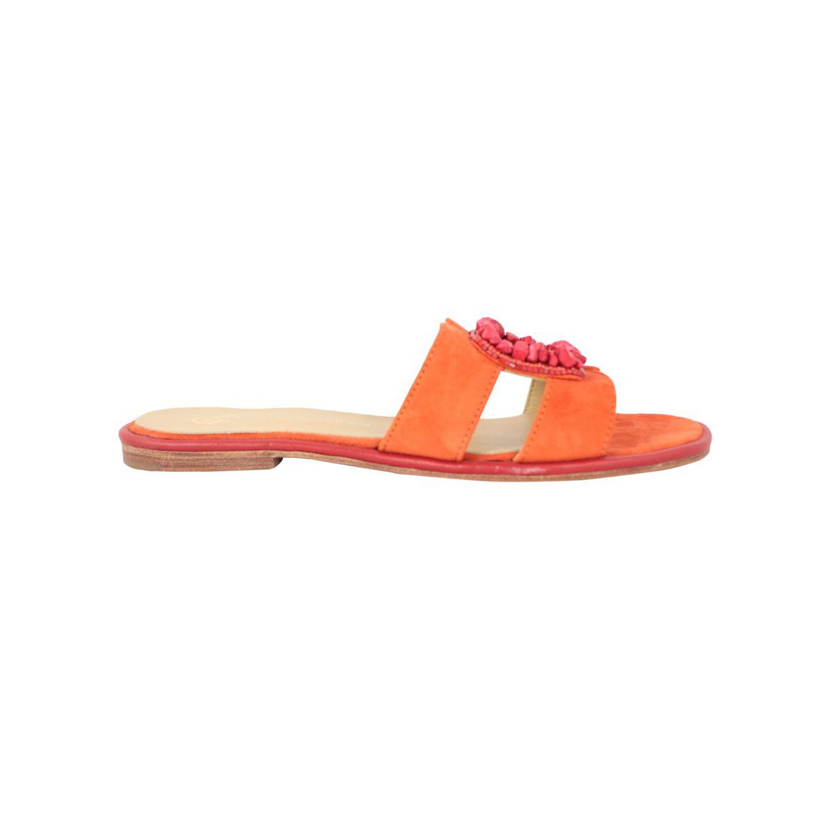 Capri Stones sandal in suede effect fabric Orange Maliparmi