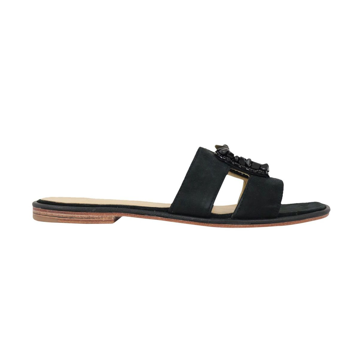 Capri Stones sandal in suede effect fabric Black Maliparmi