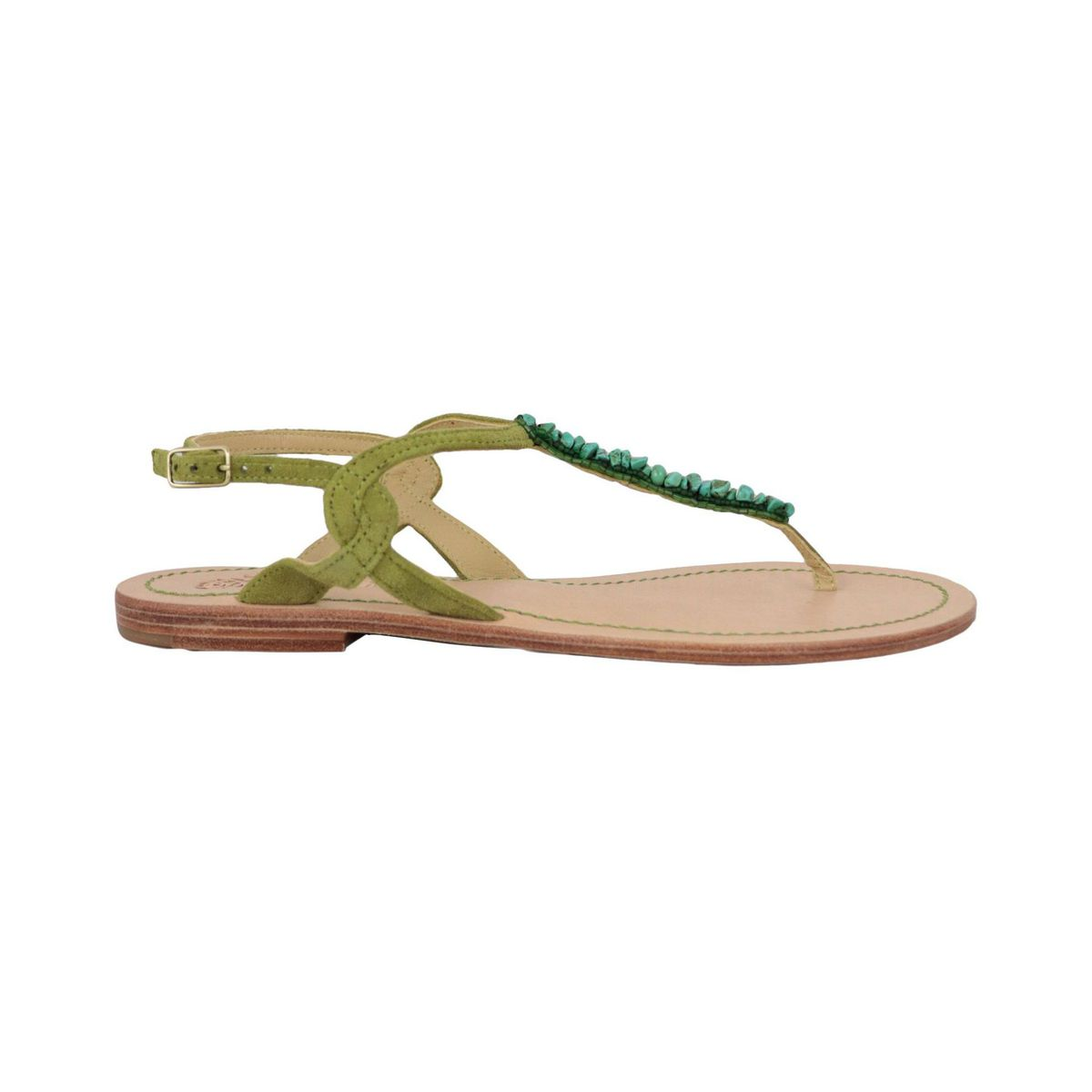 Capri Stones flip flops in leather with glass beads Olive Maliparmi