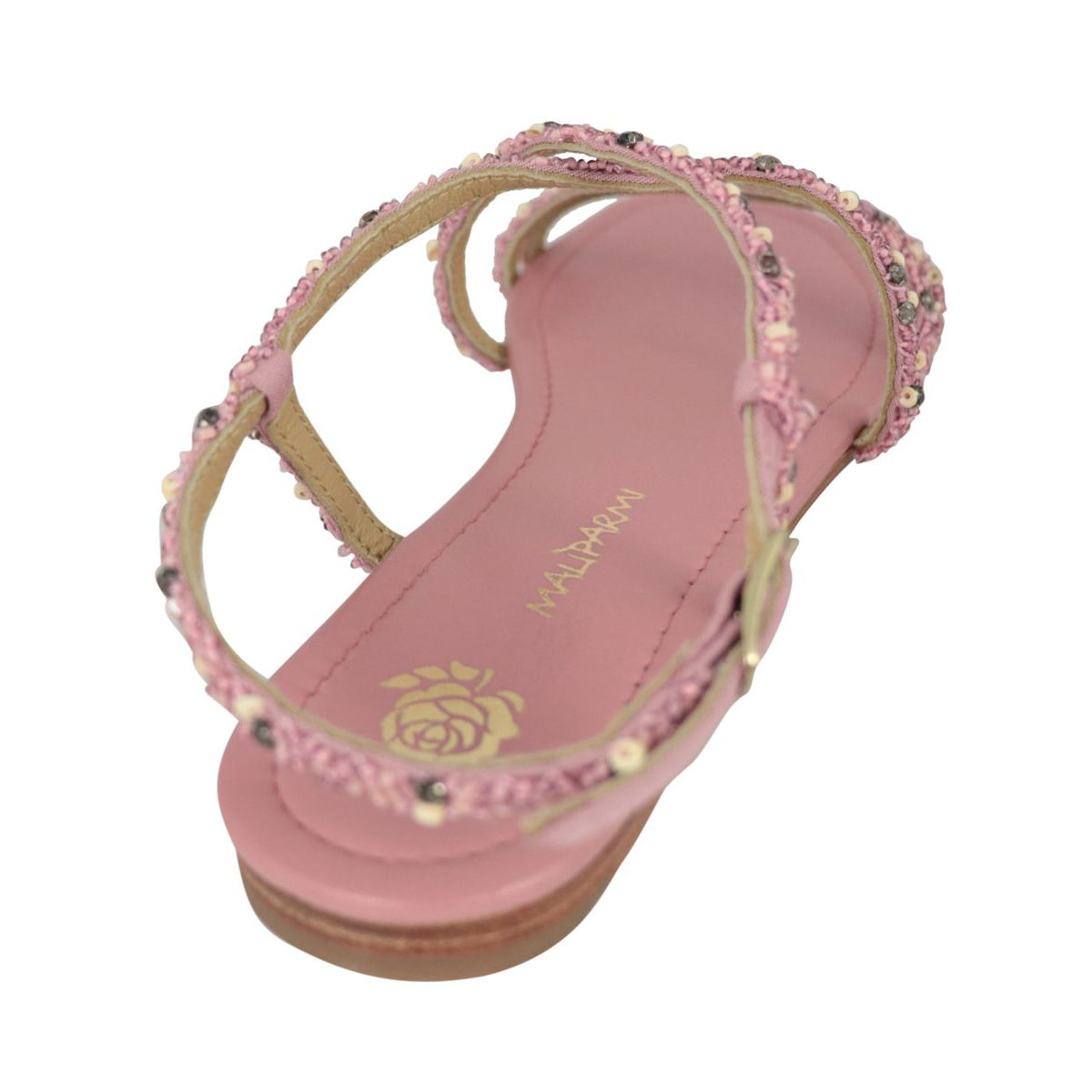 Capri Sparkling sandal in fabric with bead application Antique pink Maliparmi