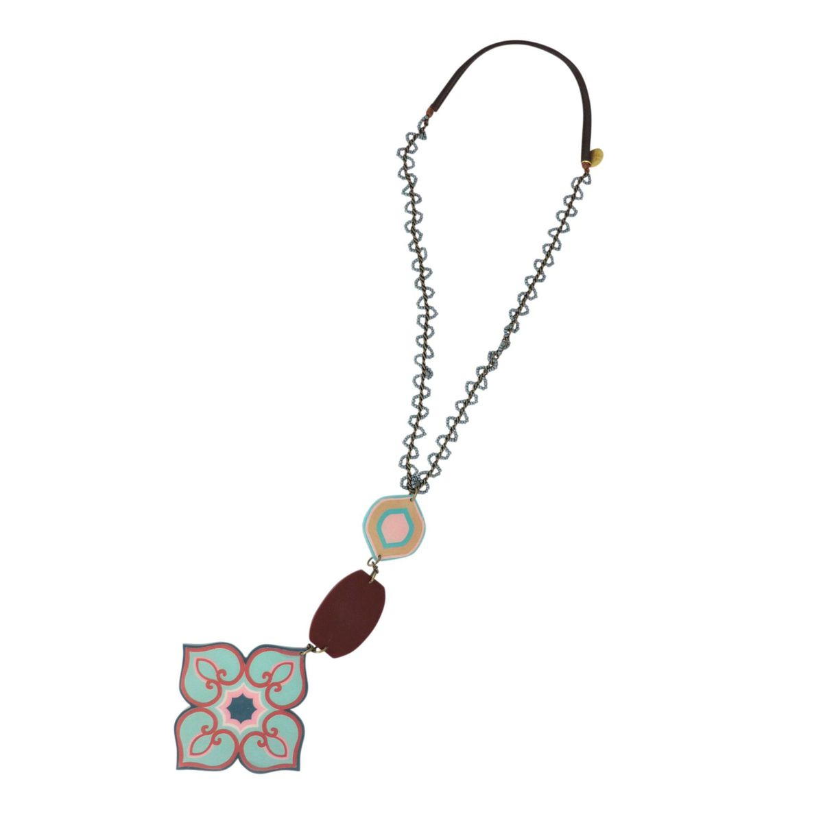 Dome necklace with resin pendant Light blue brown Maliparmi