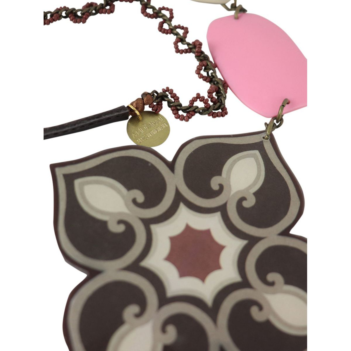 Dome necklace with resin pendant Pink brown Maliparmi