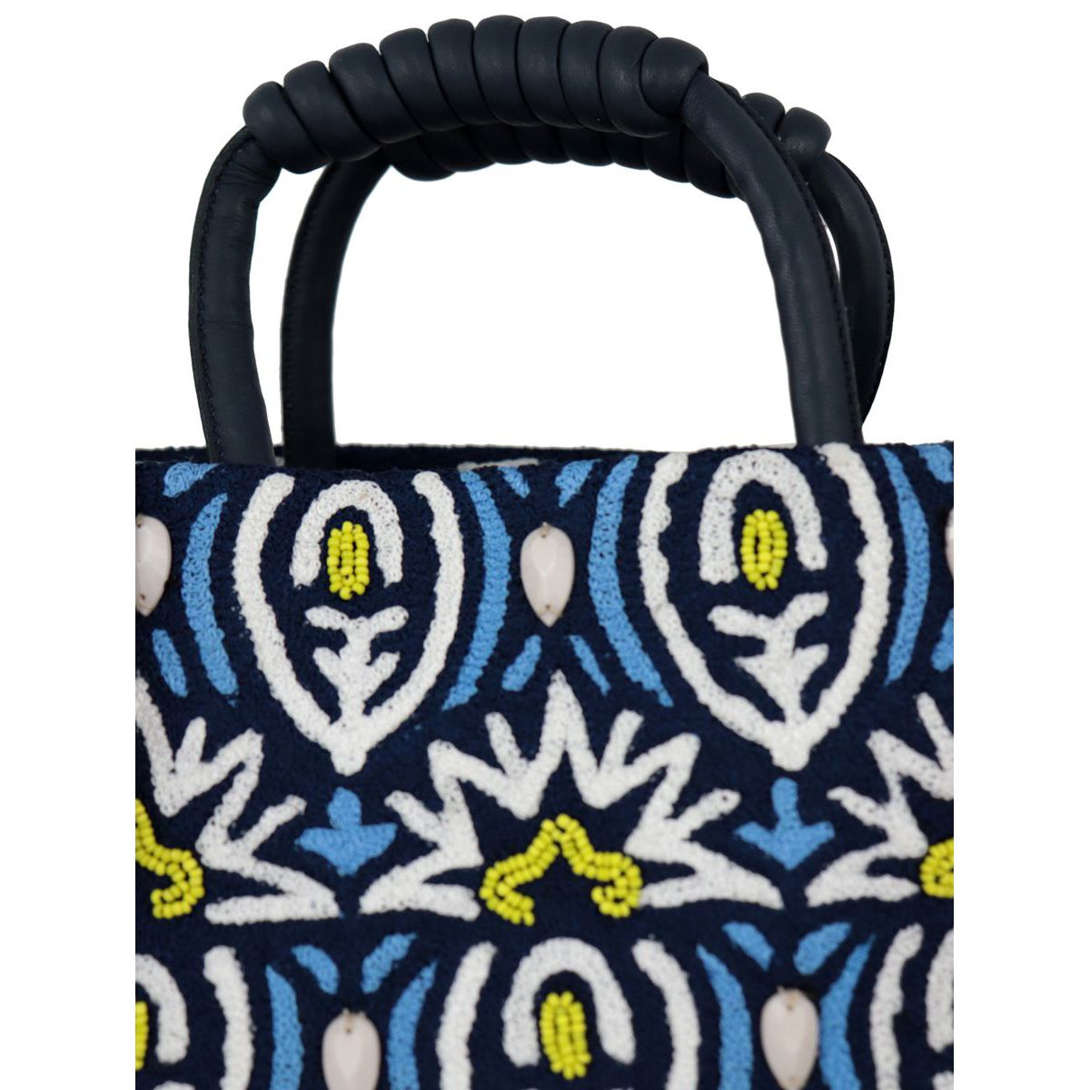 Canvas bag with beads and embroidery Light blue Maliparmi