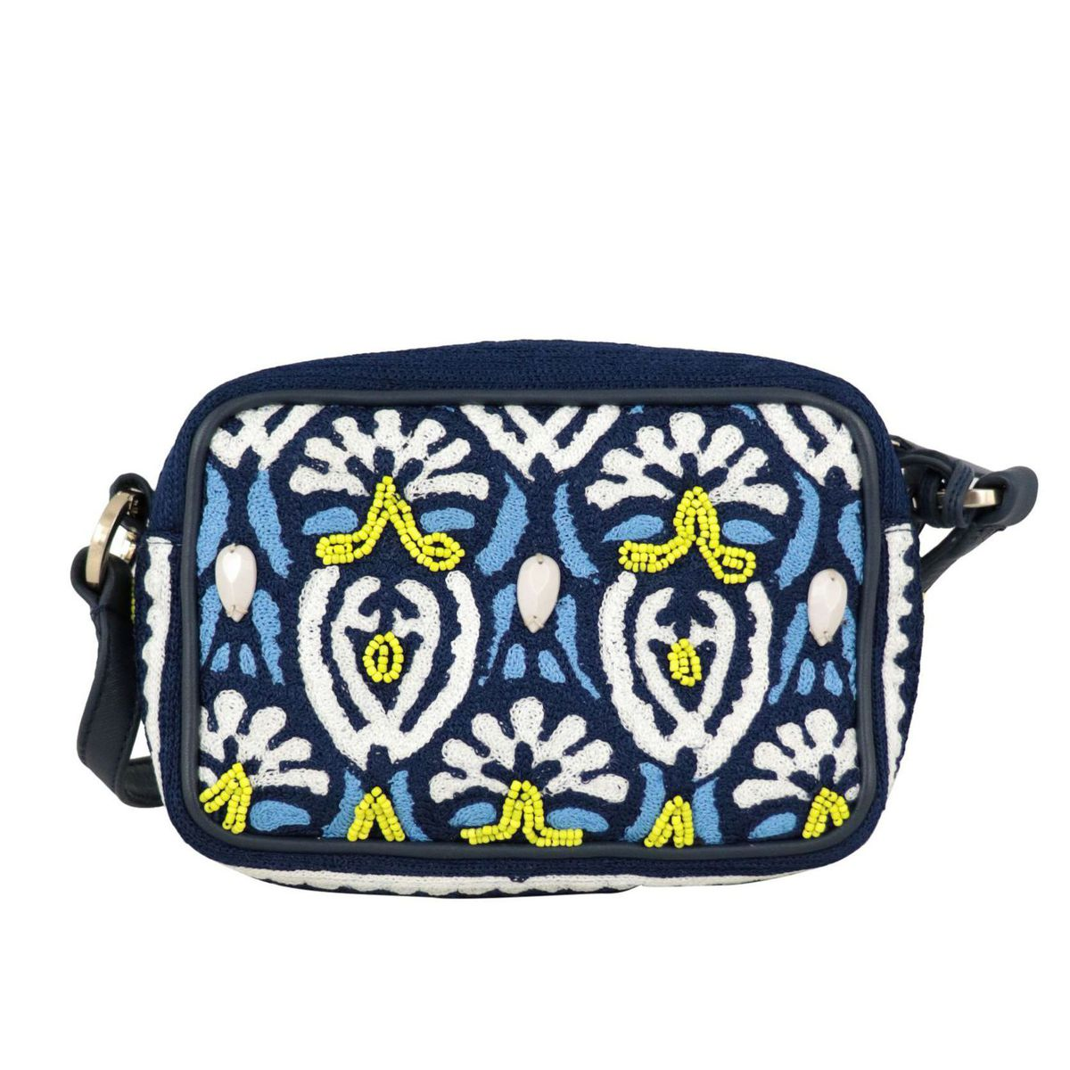 Canvas bag with embroidery and leather details Light blue Maliparmi