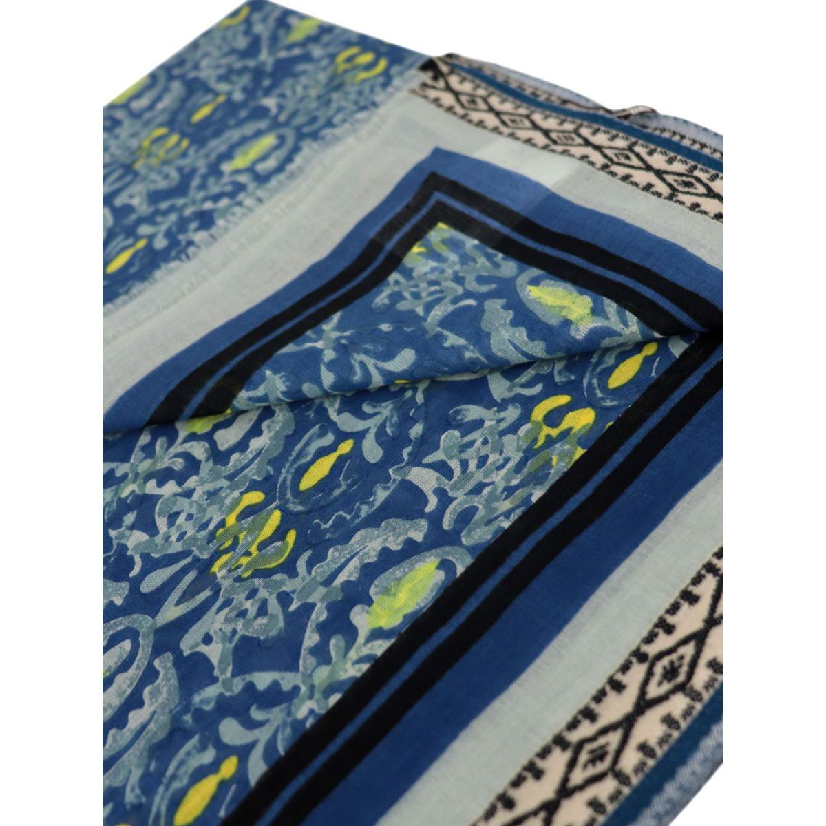 Pareo scarf in multicolor printed cotton Light blue Maliparmi
