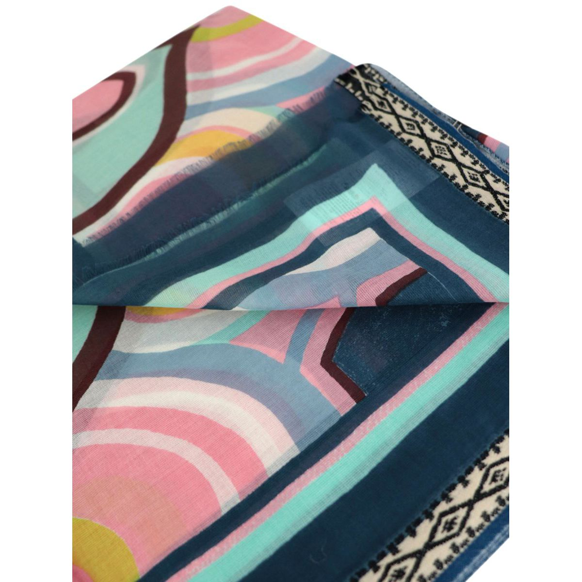 Pareo scarf in multicolor printed cotton Blue white Maliparmi