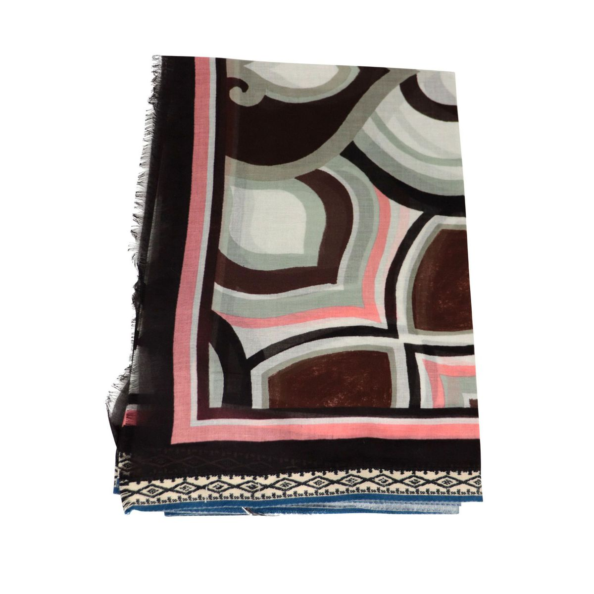 Pareo scarf in multicolor printed cotton Cream Maliparmi