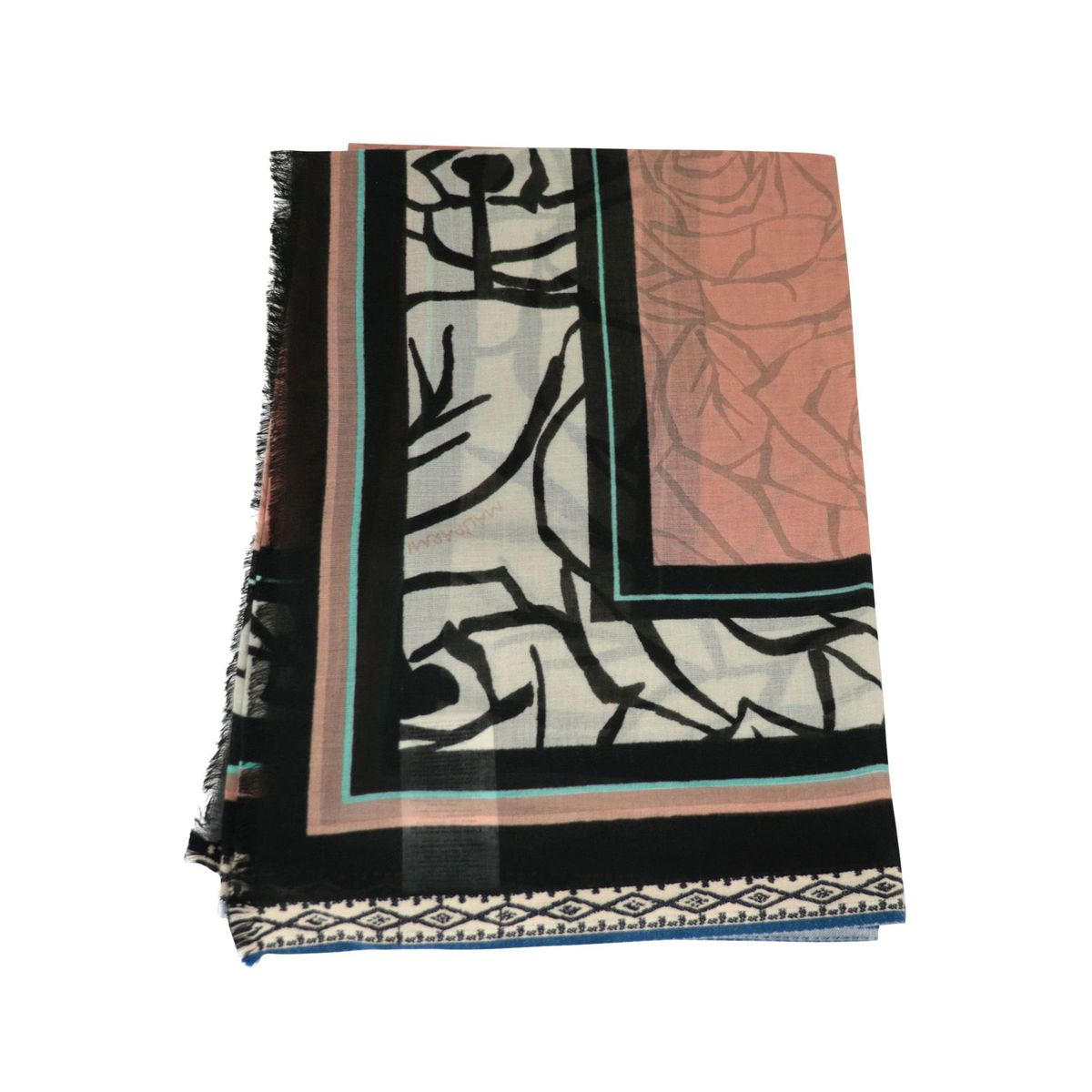 Pareo scarf in multicolor printed cotton Antique pink Maliparmi
