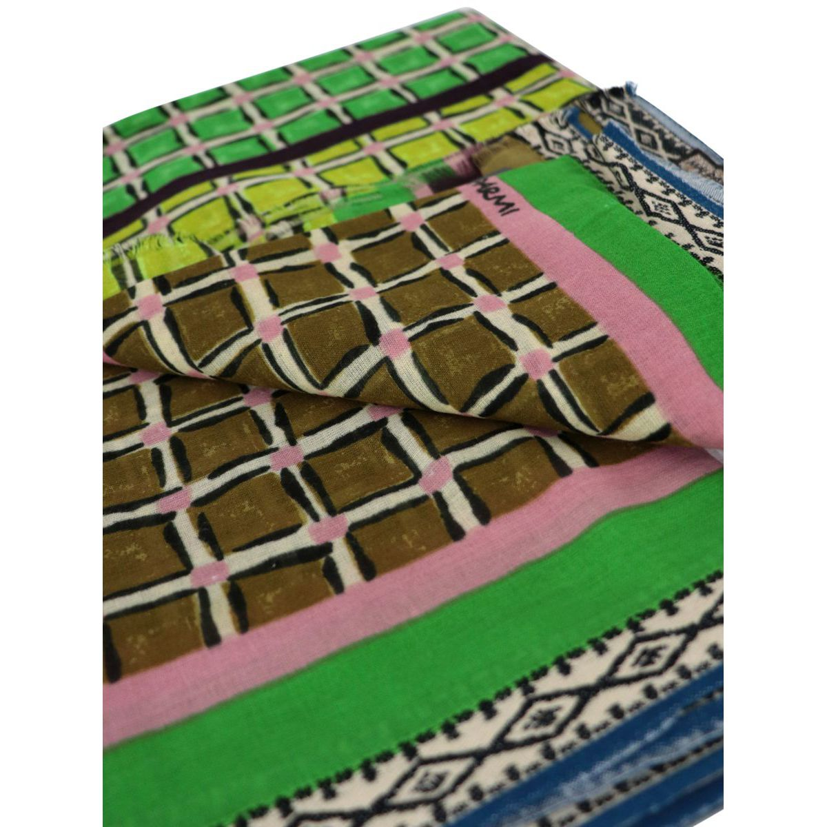 Pareo scarf in multicolor printed cotton Green Maliparmi