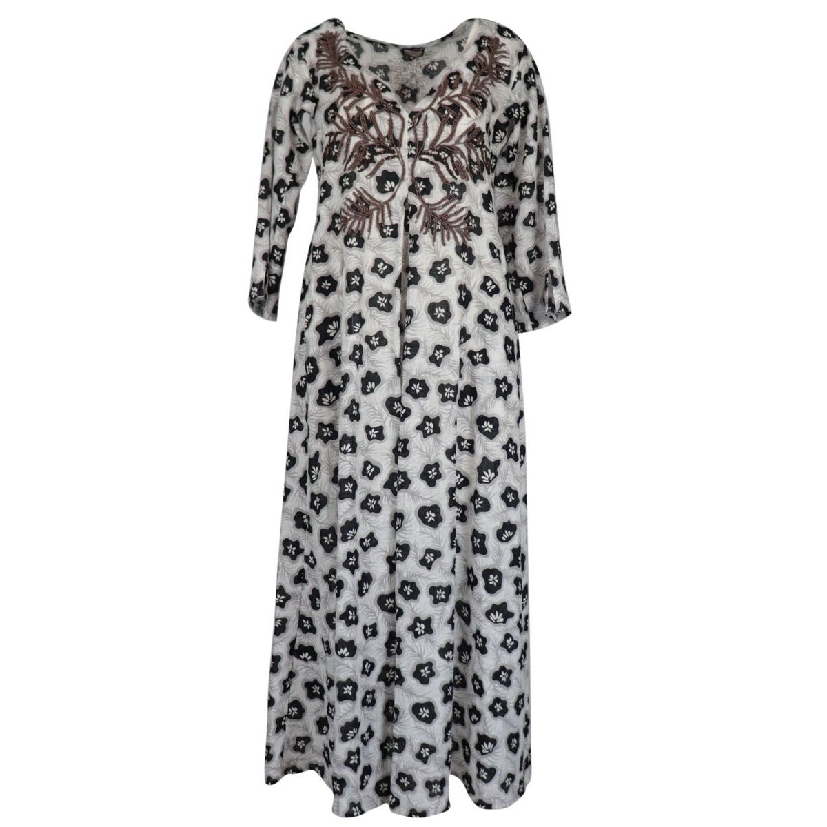 Long linen dress with embroidery and floral print White black Maliparmi