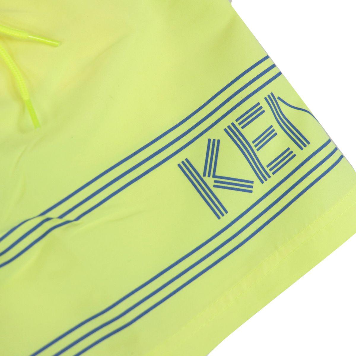 Two-tone nylon boxer costume with drawstring and logo print Yellow Kenzo