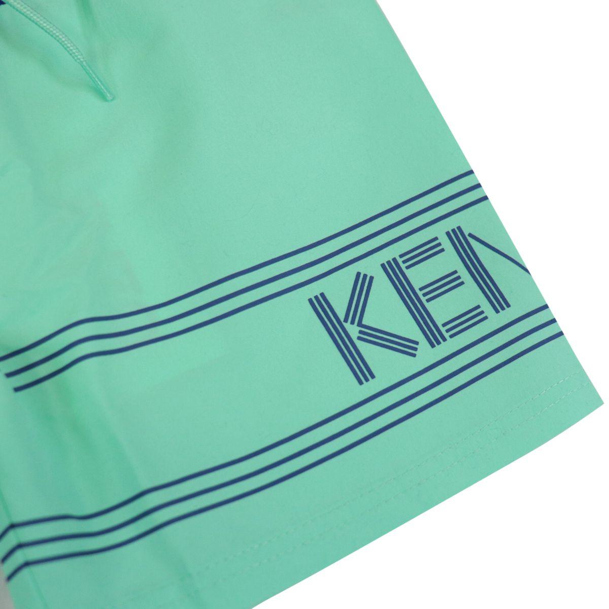 Two-tone nylon boxer costume with drawstring and logo print Mint Kenzo