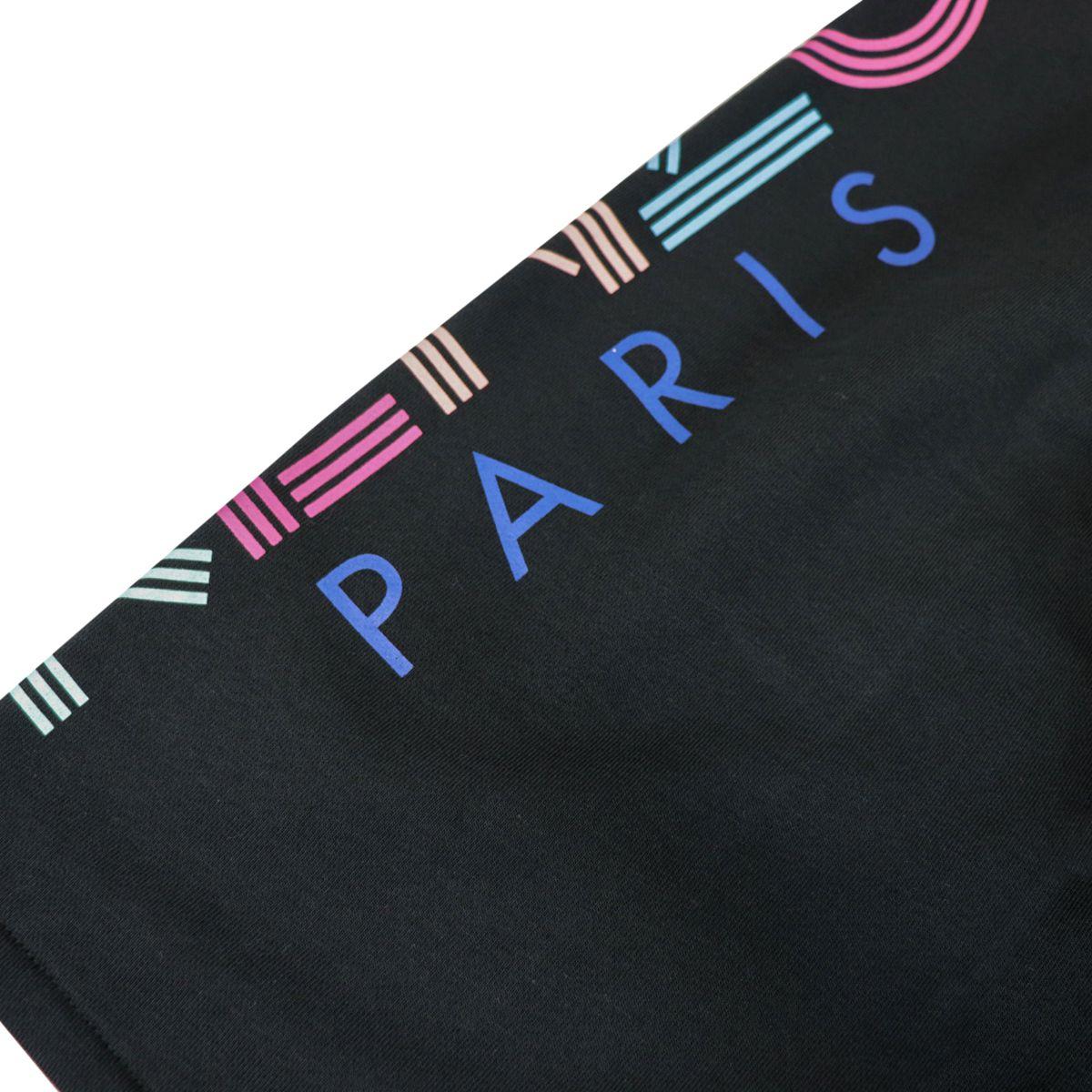Cotton bermuda with lateral multicolor logo print Black Kenzo