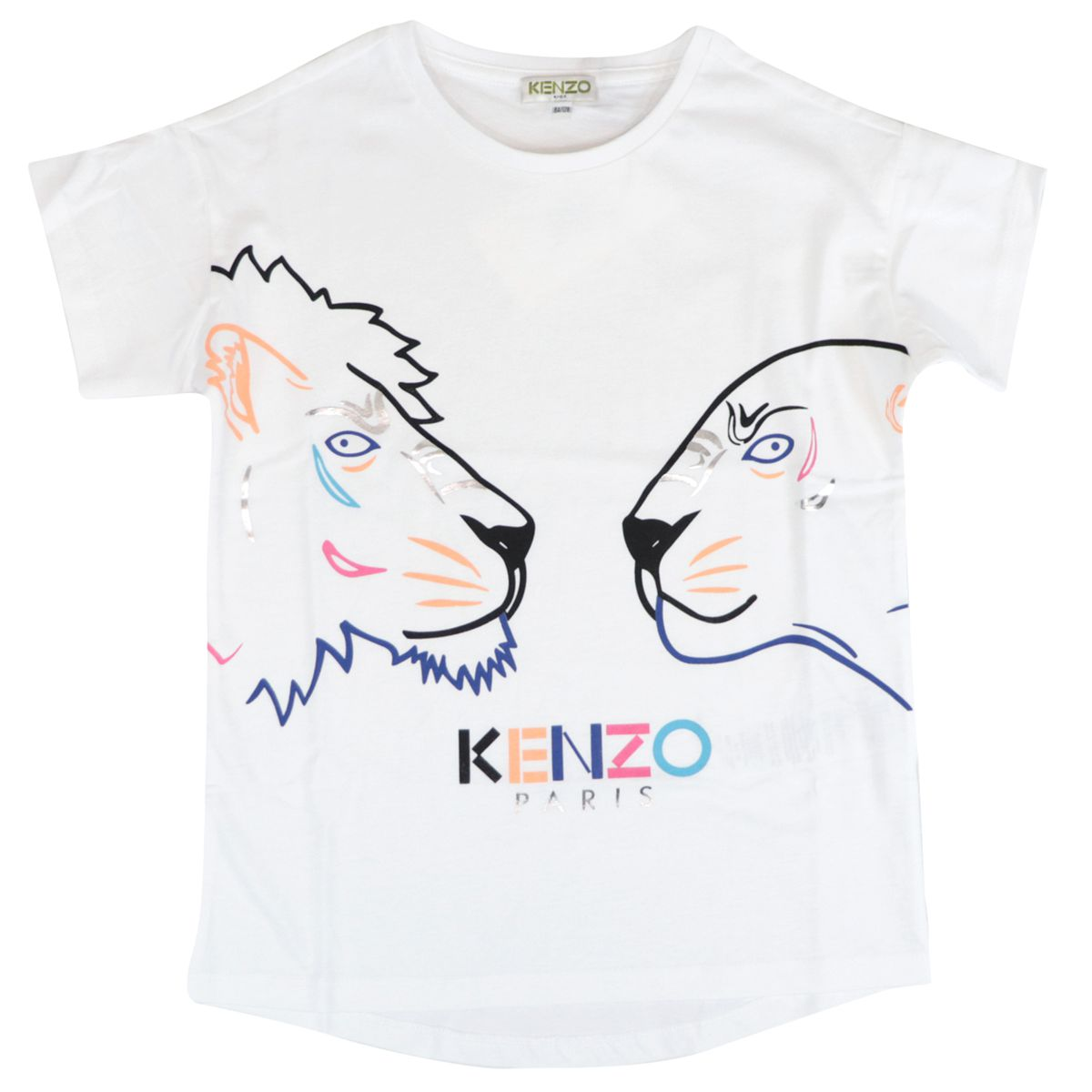 Crew neck cotton T-shirt with logo and multicolor prints Optical white Kenzo