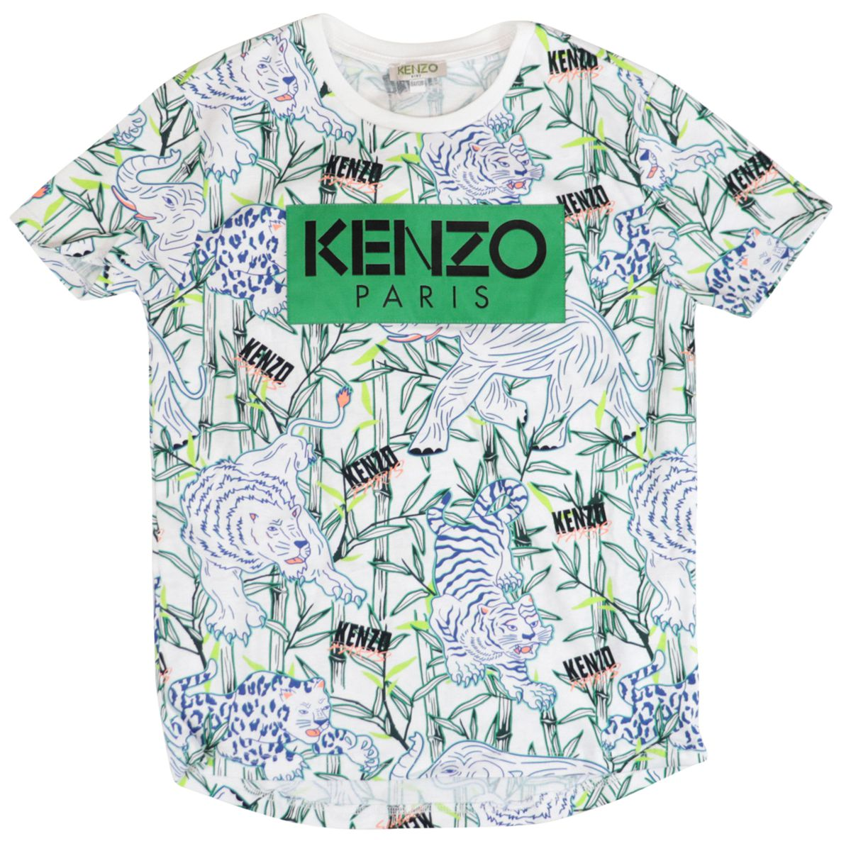Cotton t-shirt with logo print and over jungle Optical white Kenzo