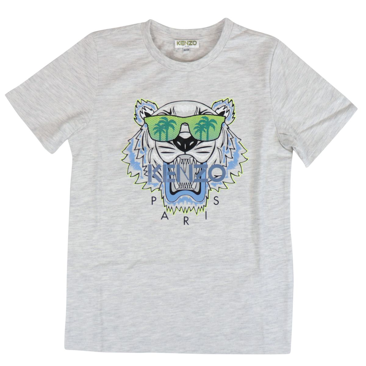 Cotton t-shirt with multicolor Tiger logo print Grey Kenzo