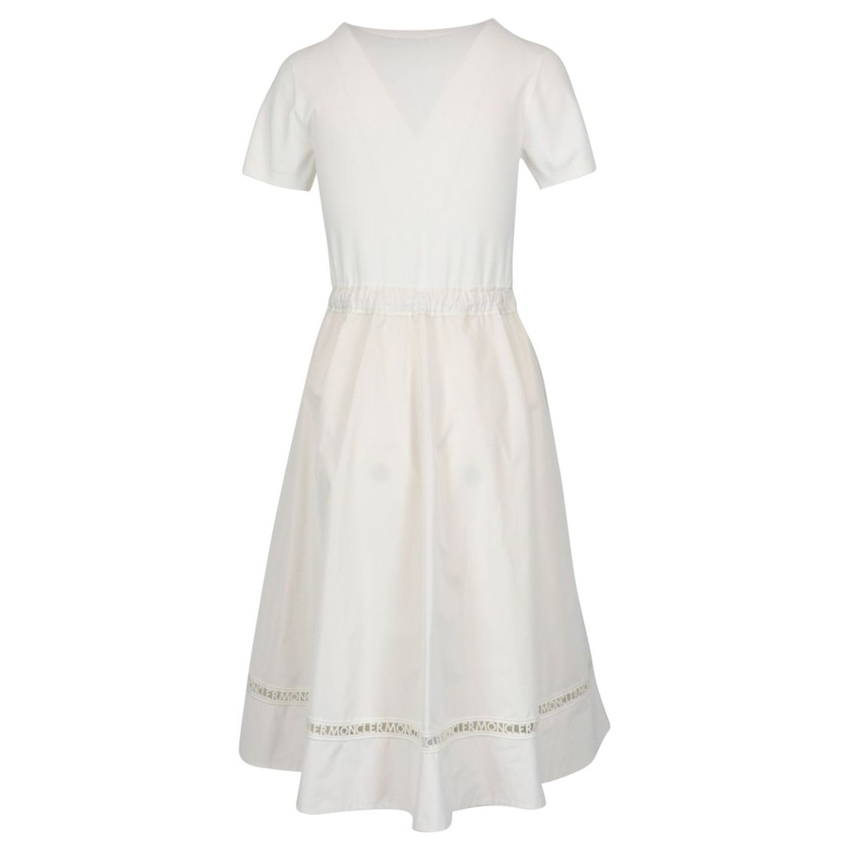 Flared crew neck dress in cotton with drawstring waist Cream Moncler