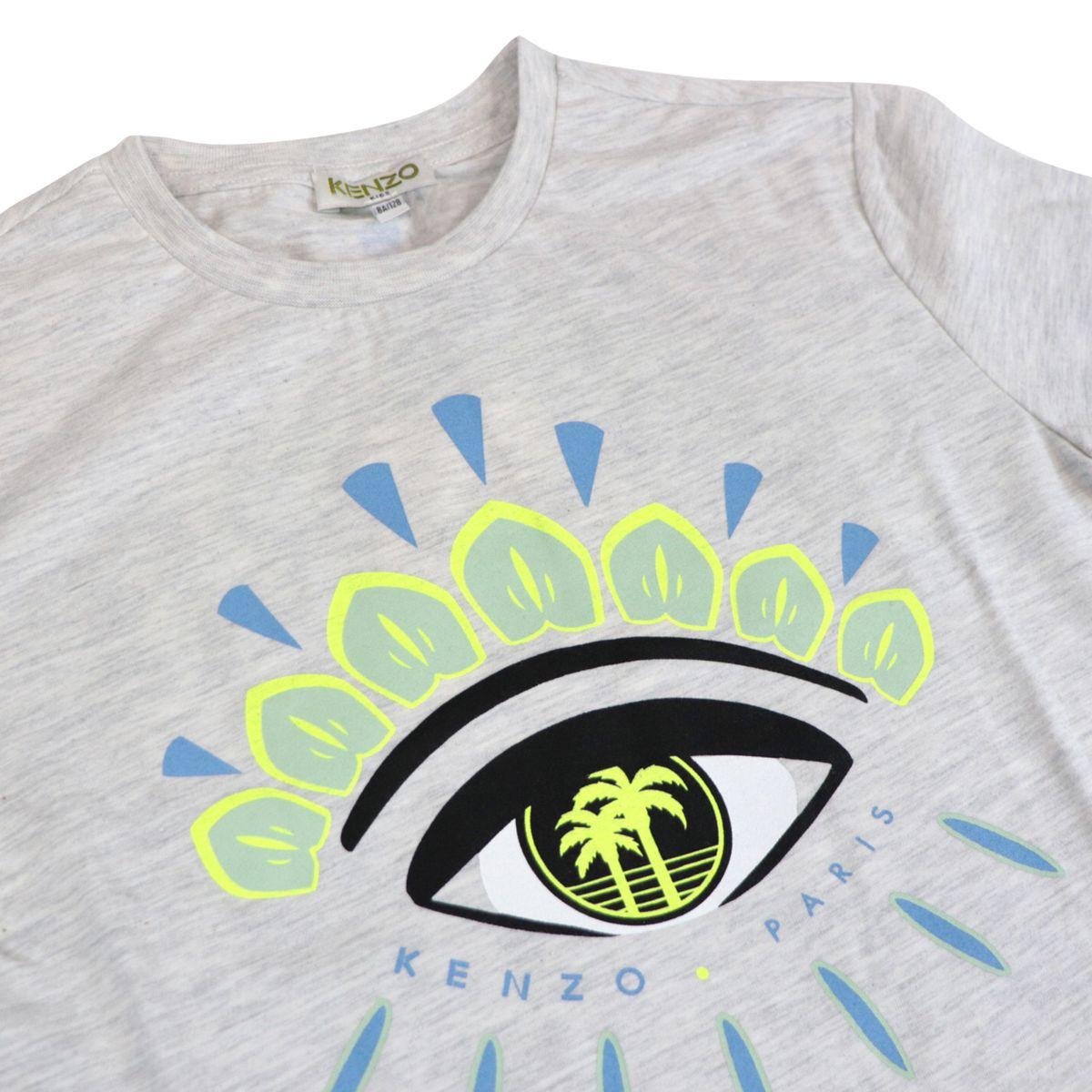 Cotton T-shirt with contrasting Eyes logo print Grey Kenzo