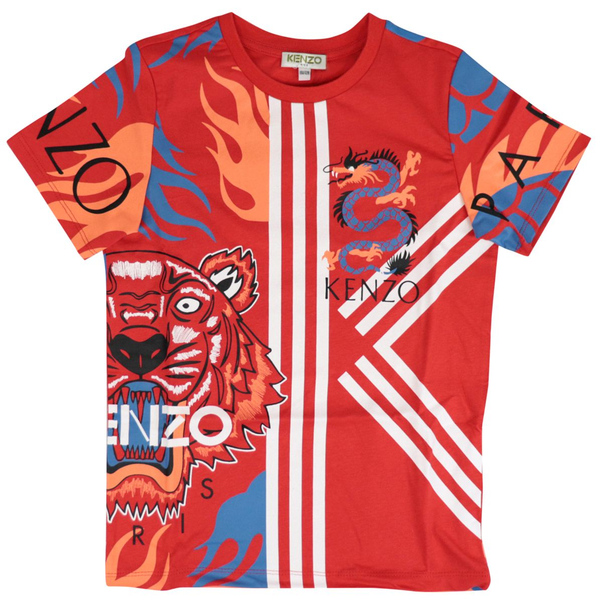 Cotton t-shirt with contrasting big Tiger print Red Kenzo