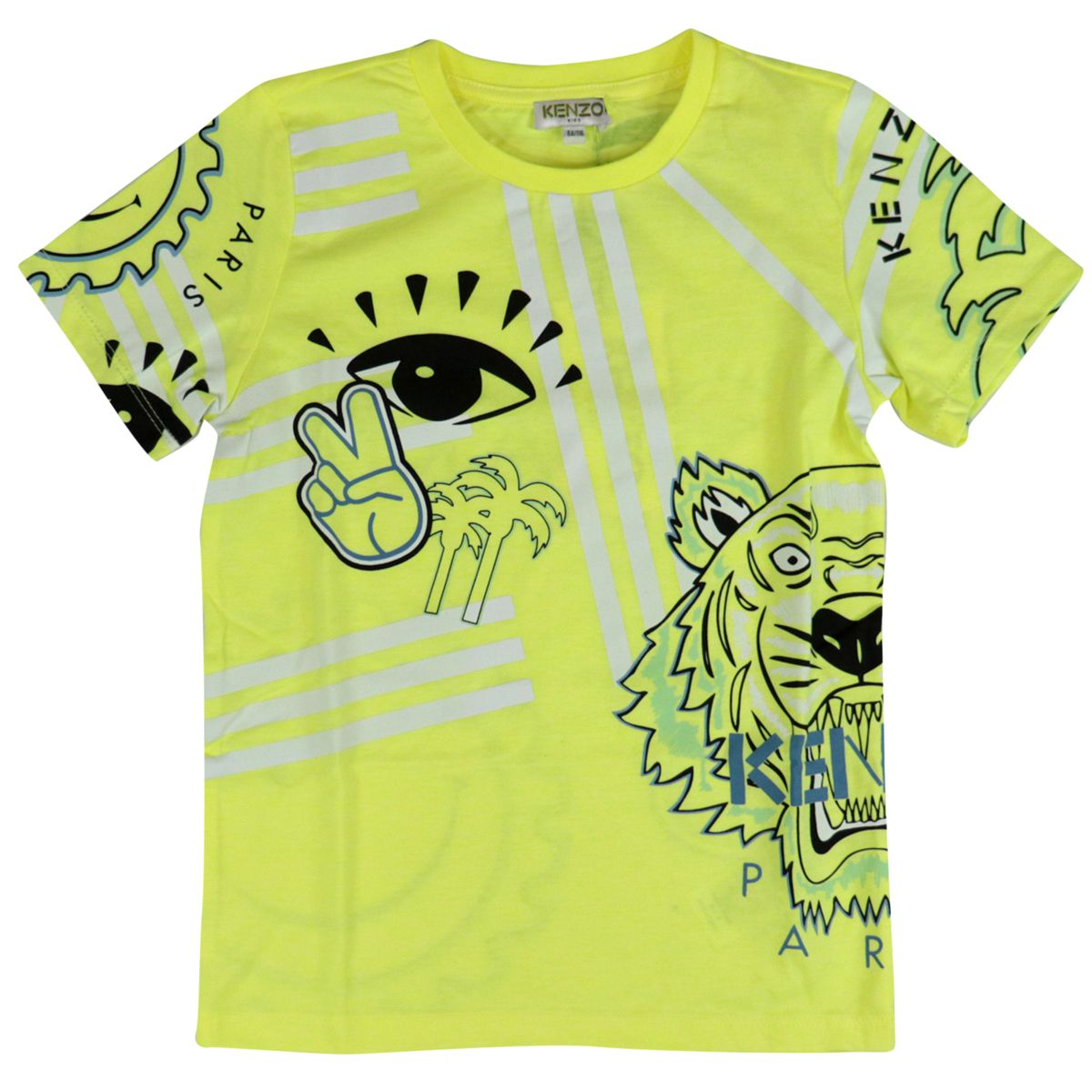 Cotton T-shirt with contrasting all over prints Yellow Kenzo