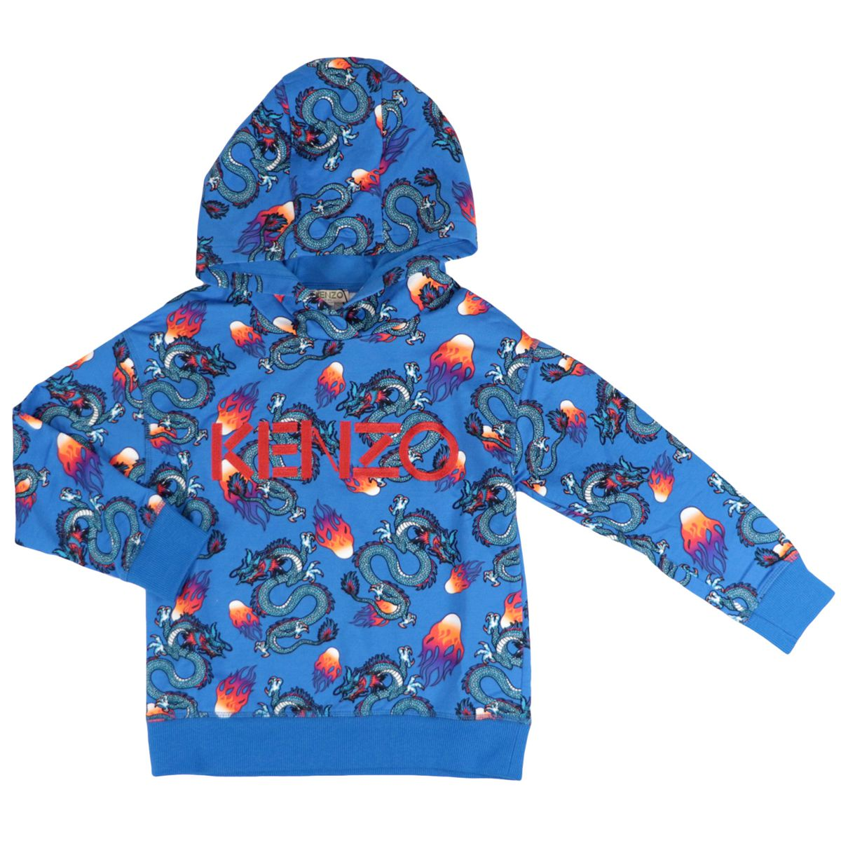 Cotton sweatshirt with hood and all over dragons logo prints Blue Kenzo