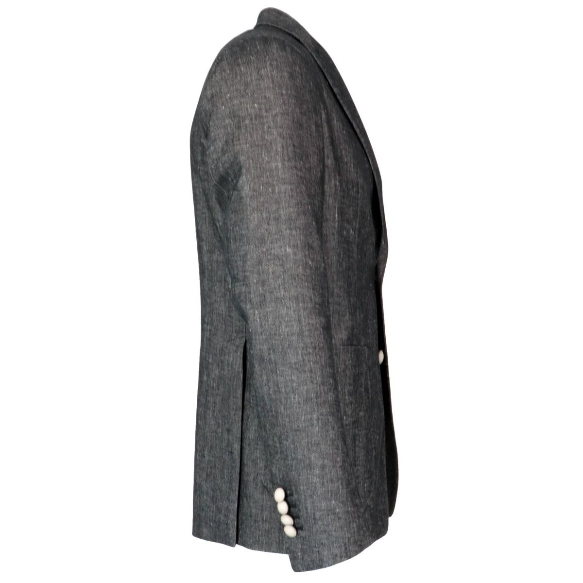 Two-button jacket in cotton and linen denim effect Anthracite Tagliatore