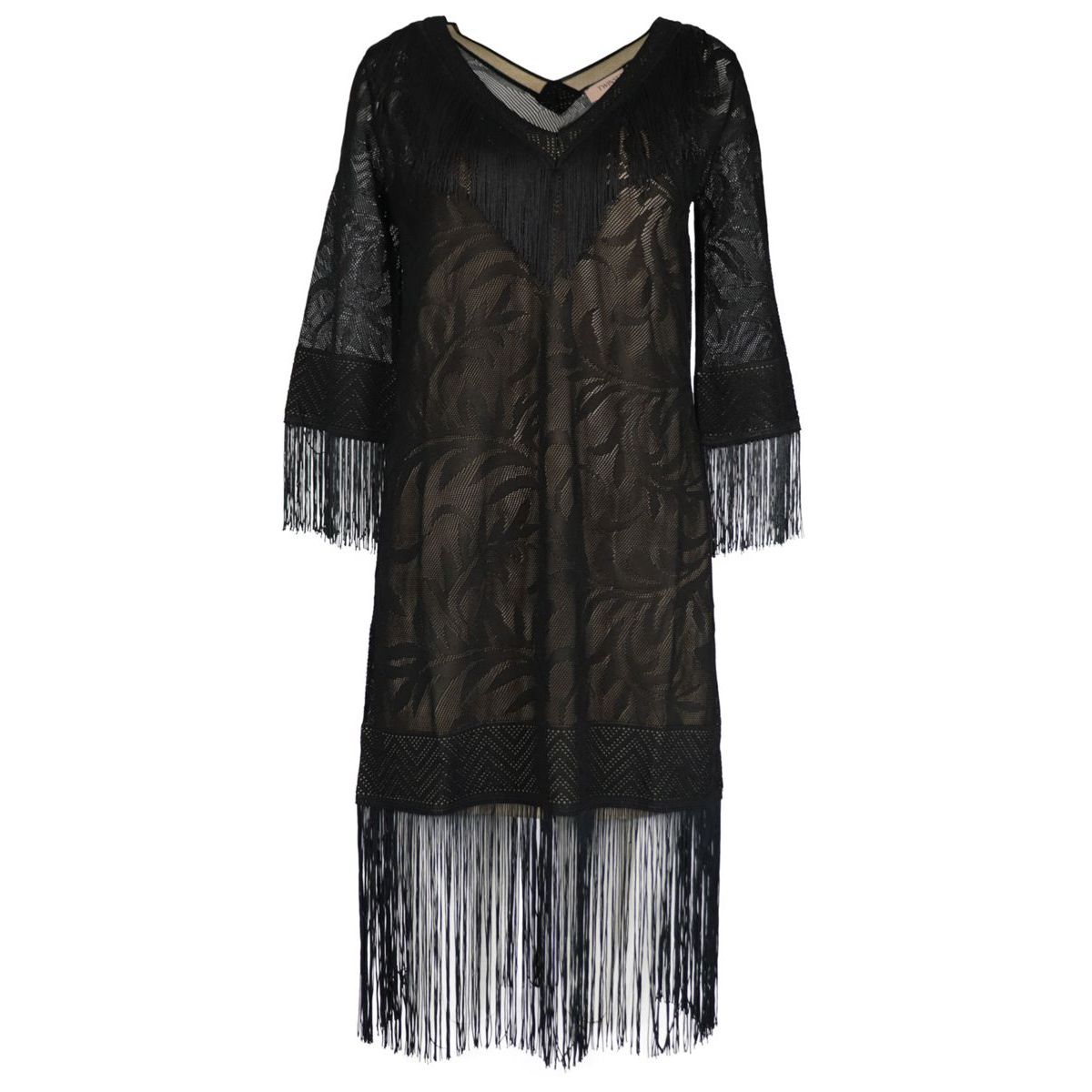 Lace stitch dress with fringes on the bottom Black Twin-Set