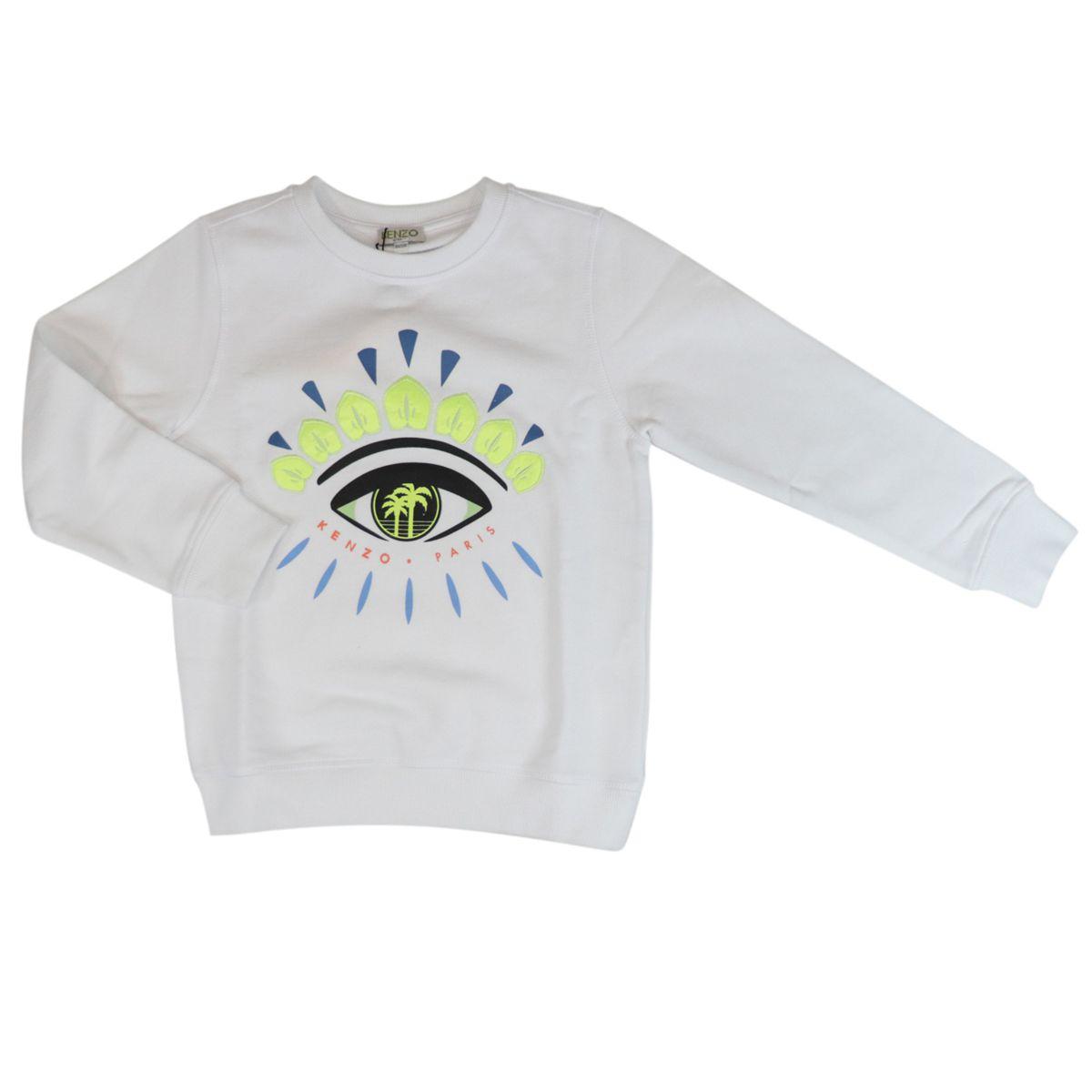 Crewneck cotton sweatshirt with eye logo print White Kenzo