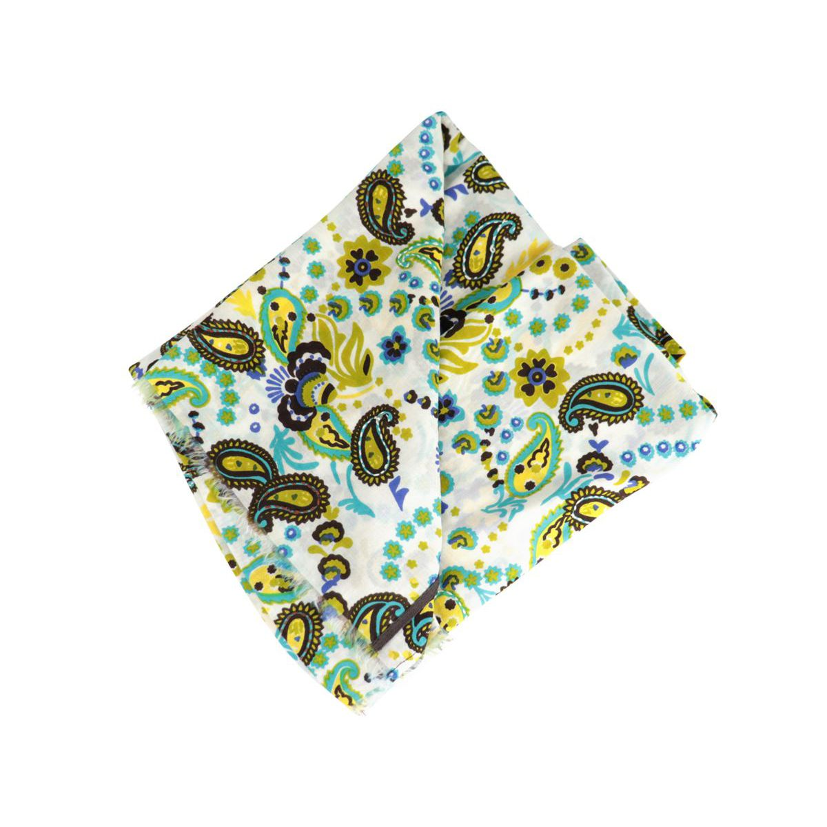 Cotton and silk scarf with flower pattern White Altea