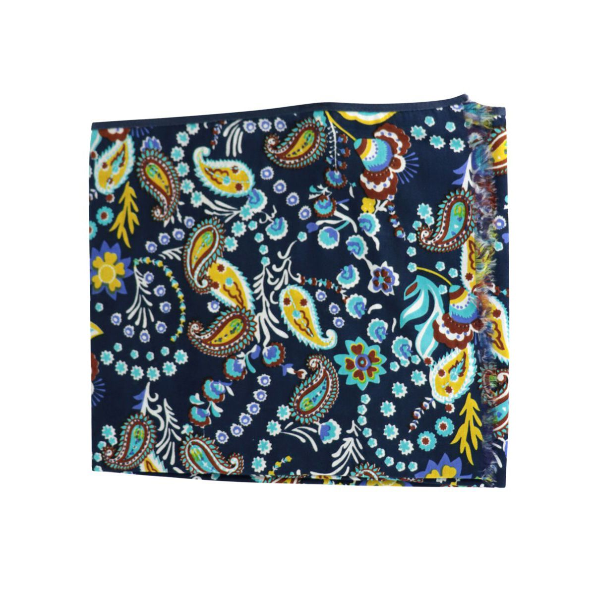 Cotton and silk scarf with flower pattern Blue Altea