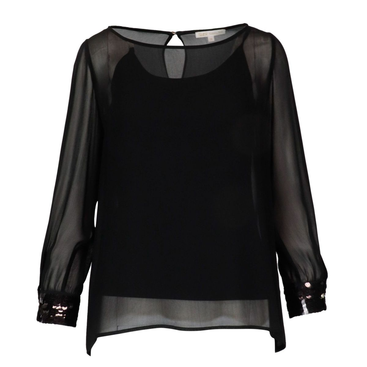 Viscose voile shirt with sequin detail Black Patrizia Pepe