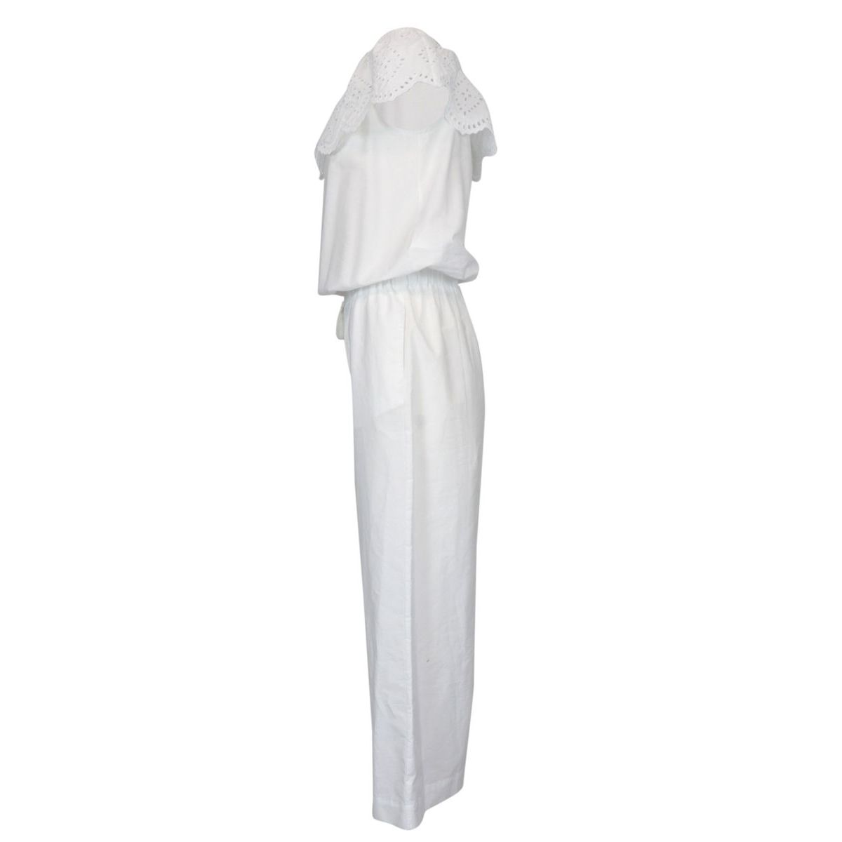 Cotton jumpsuit with boat neckline and sangallo effect turn-up White Patrizia Pepe
