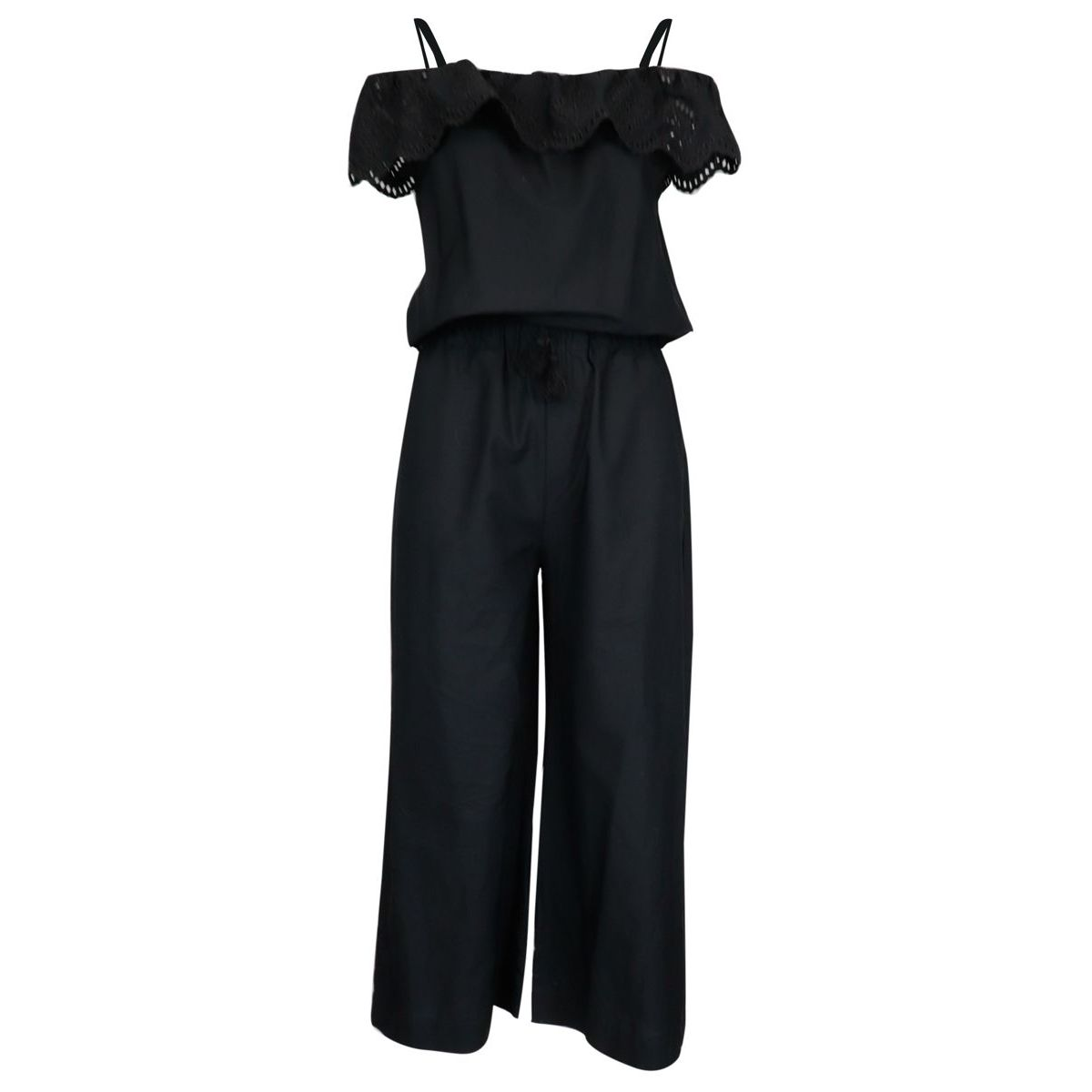 Cotton jumpsuit with boat neckline and sangallo effect turn-up Black Patrizia Pepe