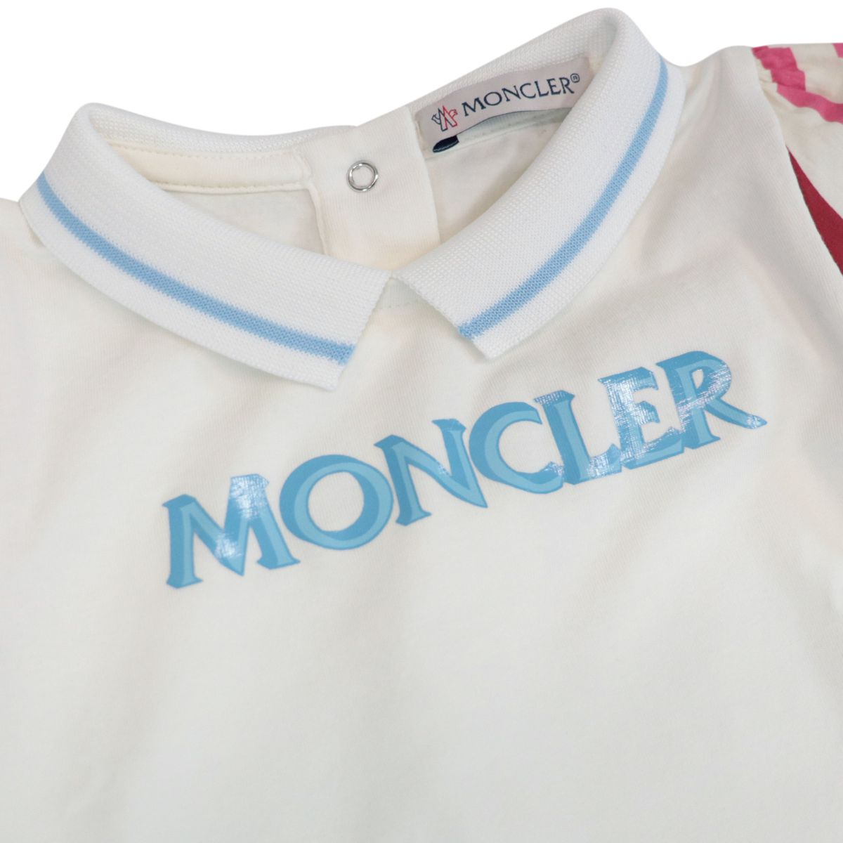 Cotton dress with collar and logo print White Moncler