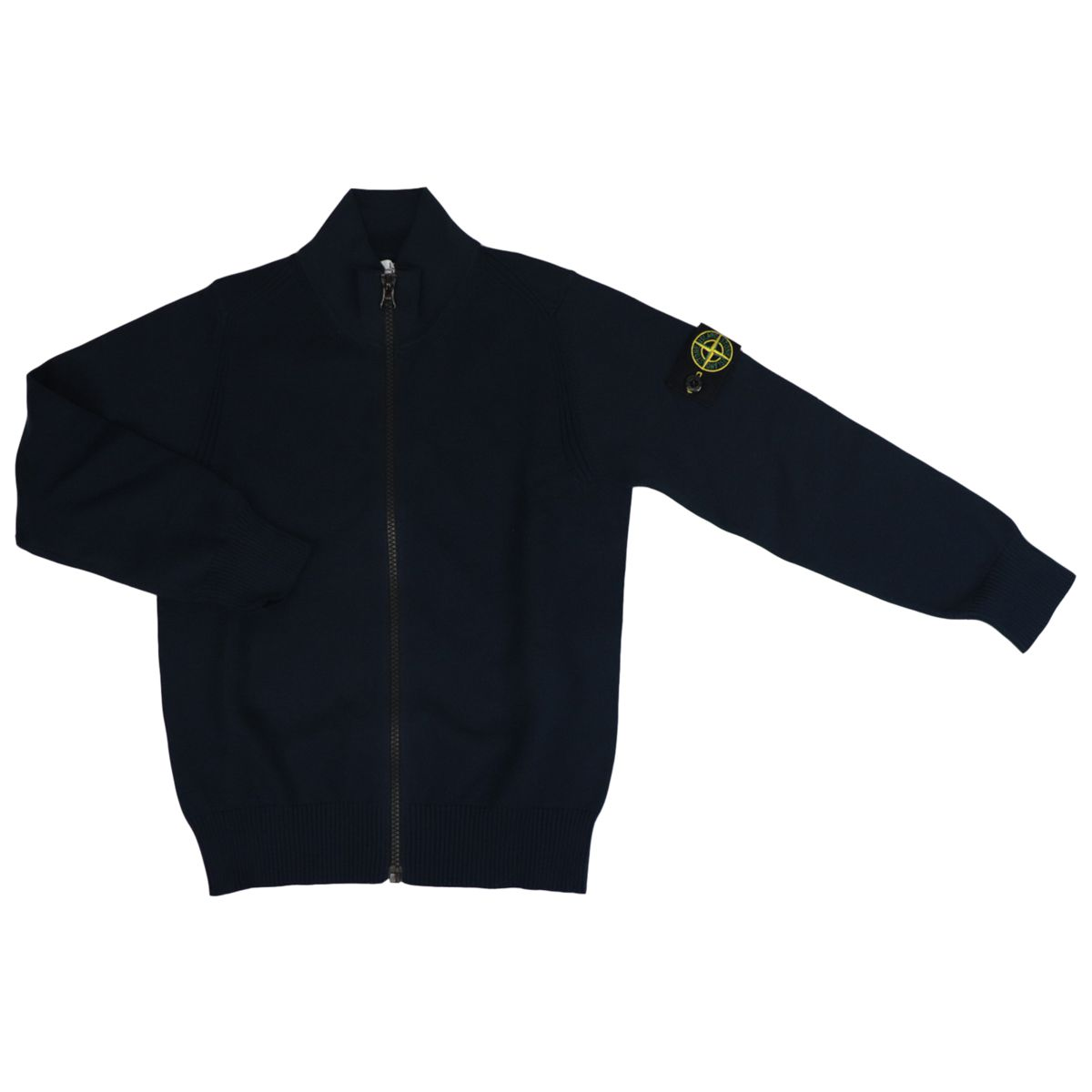 Cotton cardigan with zip and logo patch Blue STONE ISLAND JUNIOR