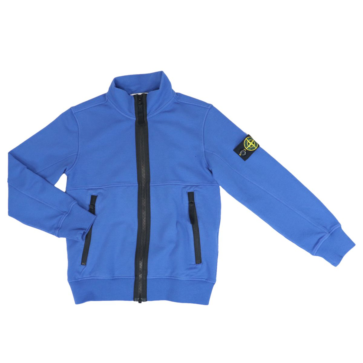 Stretch cotton sweatshirt with zip and logo patch Periwinkle STONE ISLAND JUNIOR