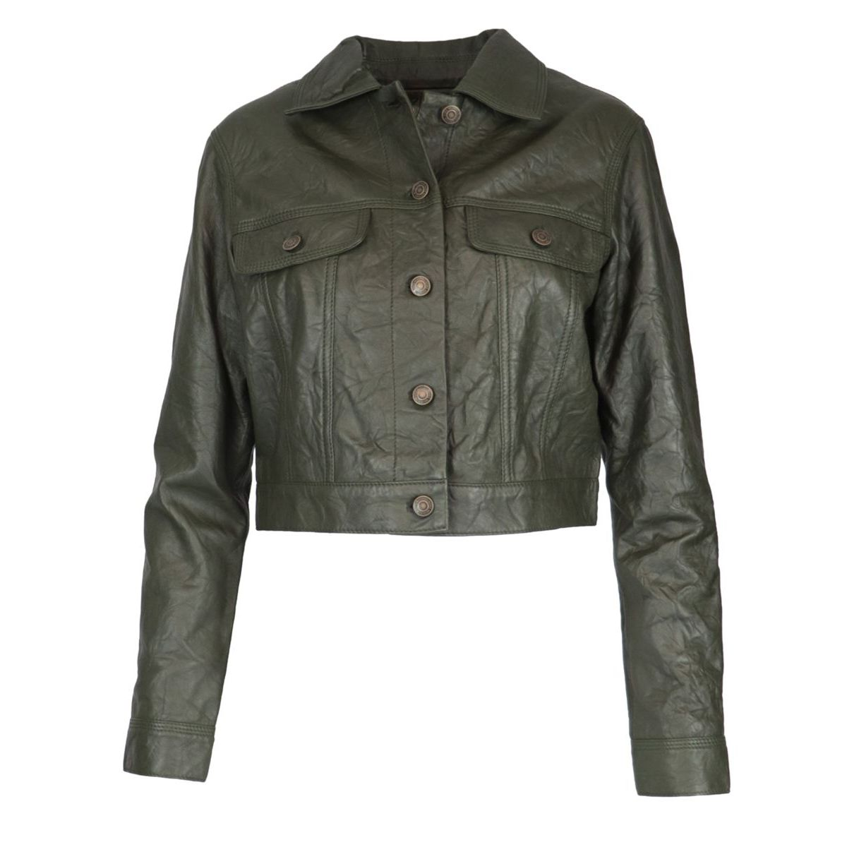 Leather jacket with collar and buttons Ivy Michael Kors