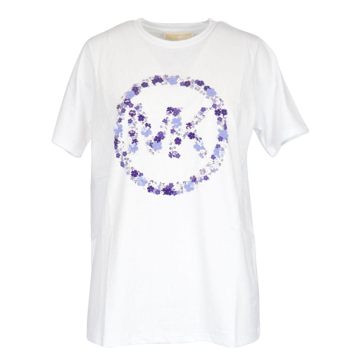 Cotton jersey T-shirt with floral logo print White Michael Kors