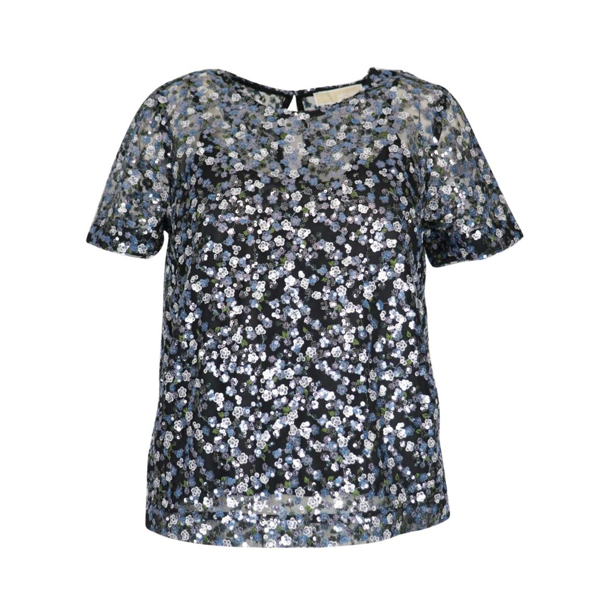 Tulle sweater with all-over floral sequins Orchid Michael Kors