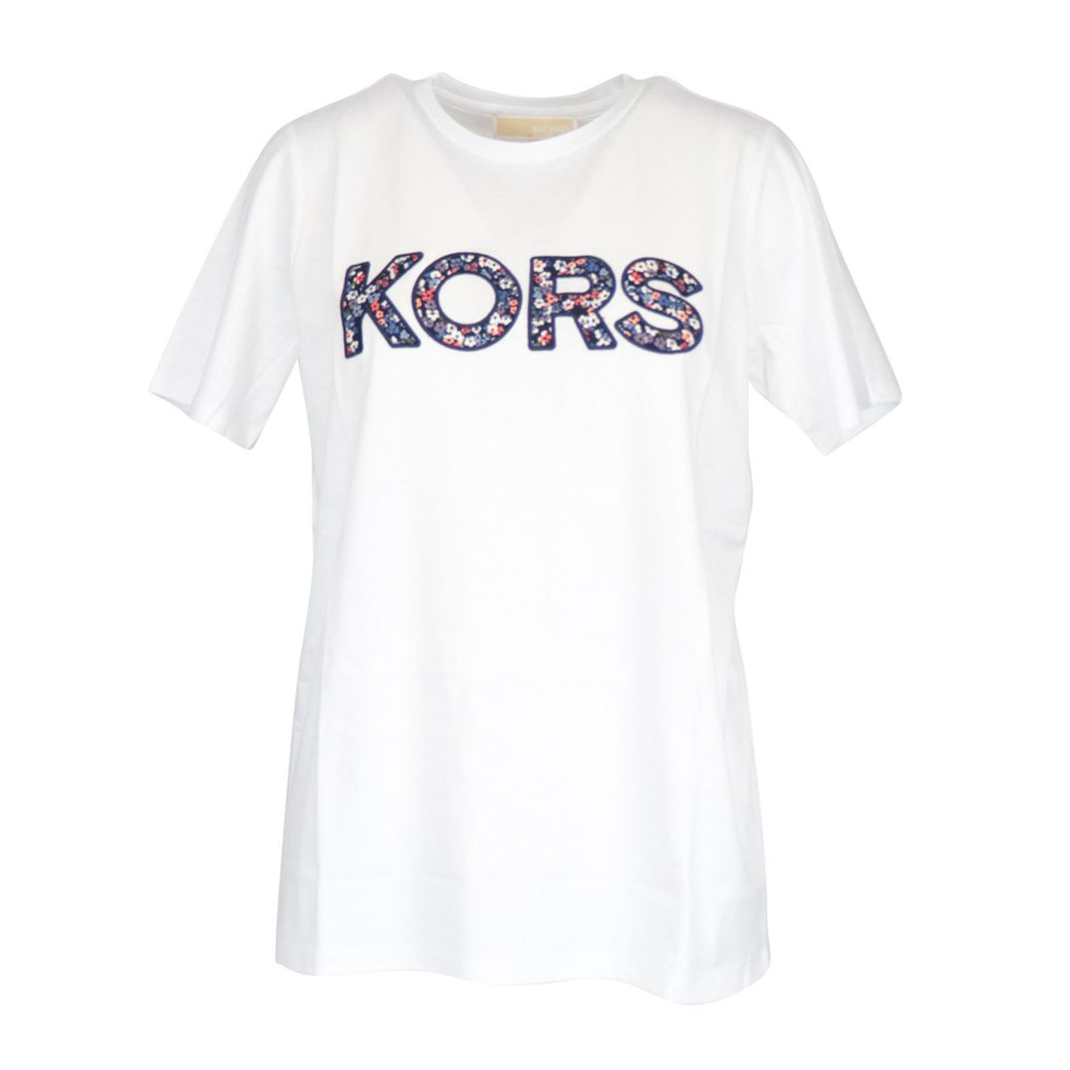 Cotton t-shirt with maxi contrasting floral logo print White Michael Kors