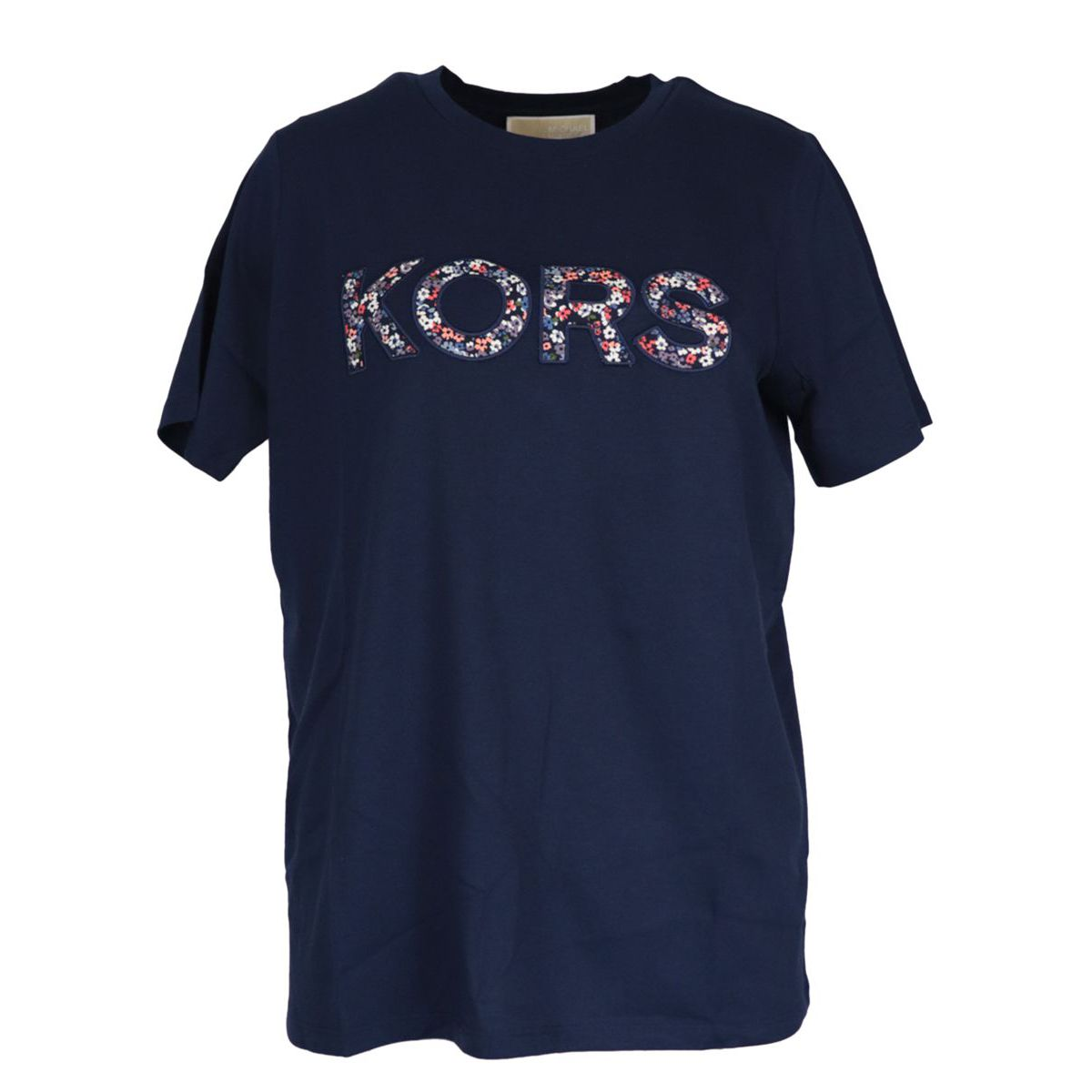 Cotton t-shirt with maxi contrasting floral logo print Navy Michael Kors