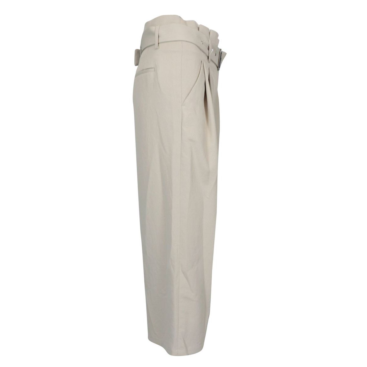 Crepe trousers with belt and high waist bag Ecru Michael Kors