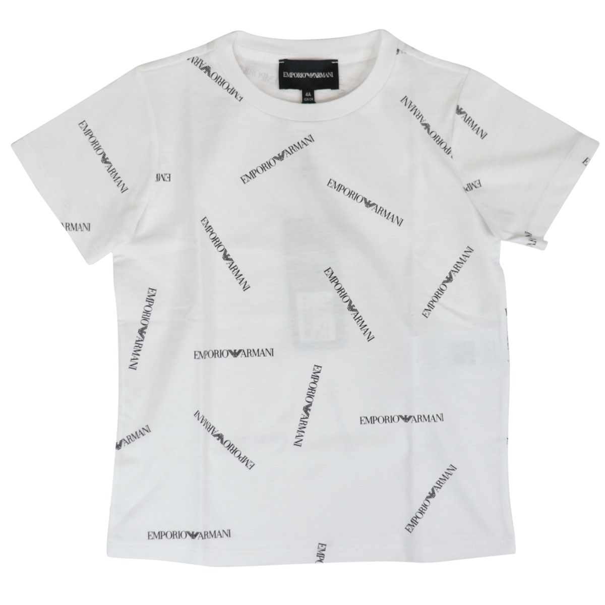 Cotton T-shirt with contrasting logo lettering print White Emporio Armani
