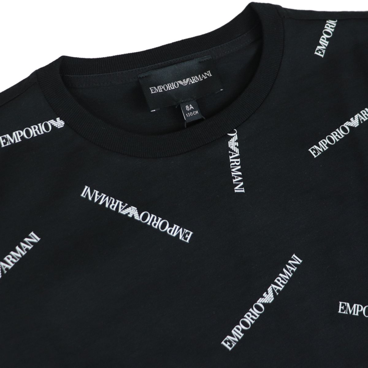 Cotton T-shirt with contrasting logo lettering print Black Emporio Armani